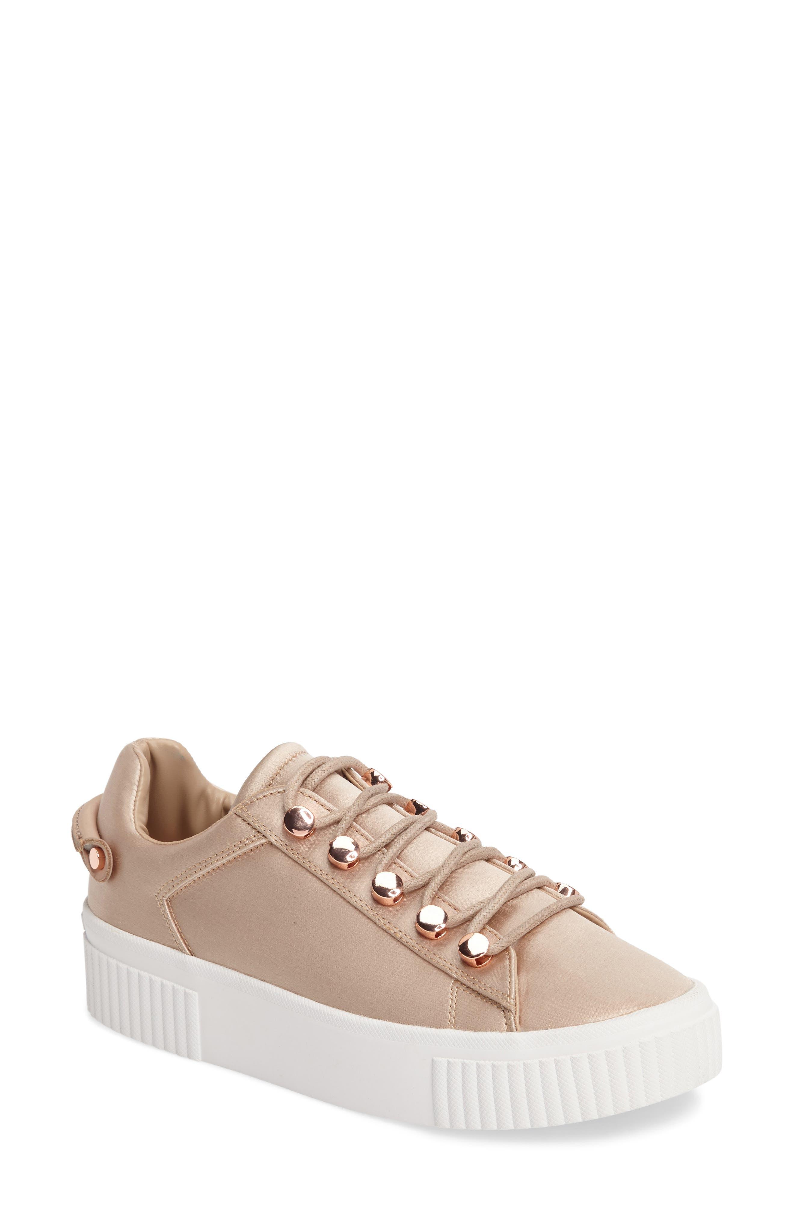 Rae 3 Platform Sneaker,                         Main,                         color, Blush Satin