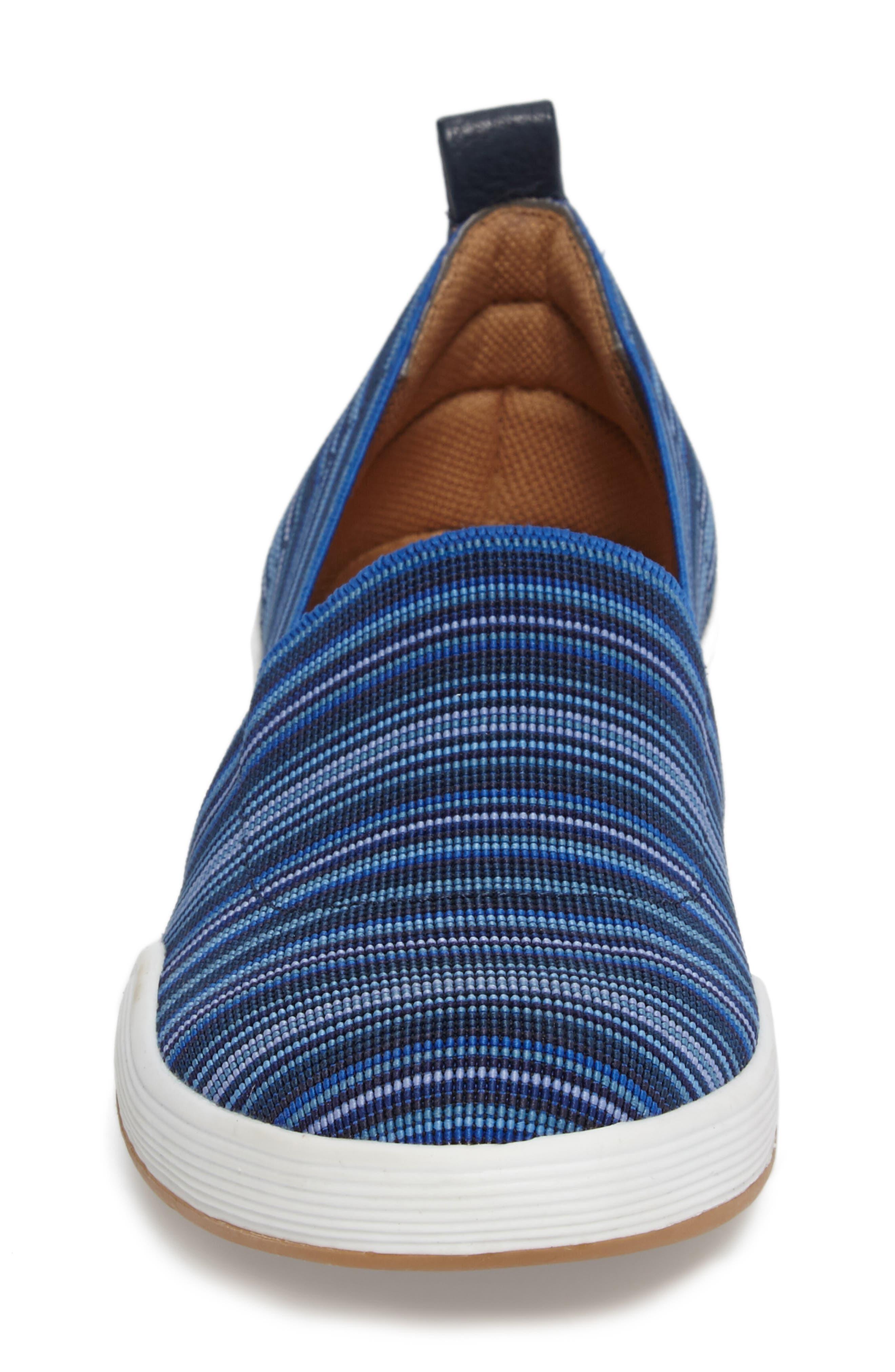 Lida Slip-On Flat,                             Alternate thumbnail 4, color,                             Blue Fabric