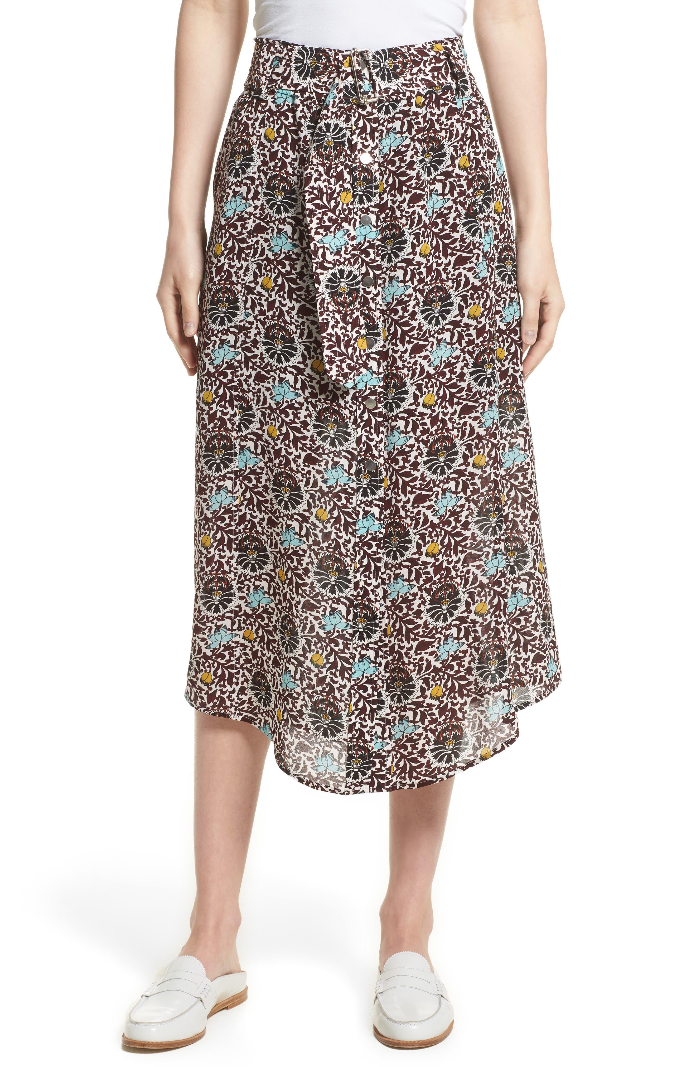 A.L.C. Divya Print Silk Skirt