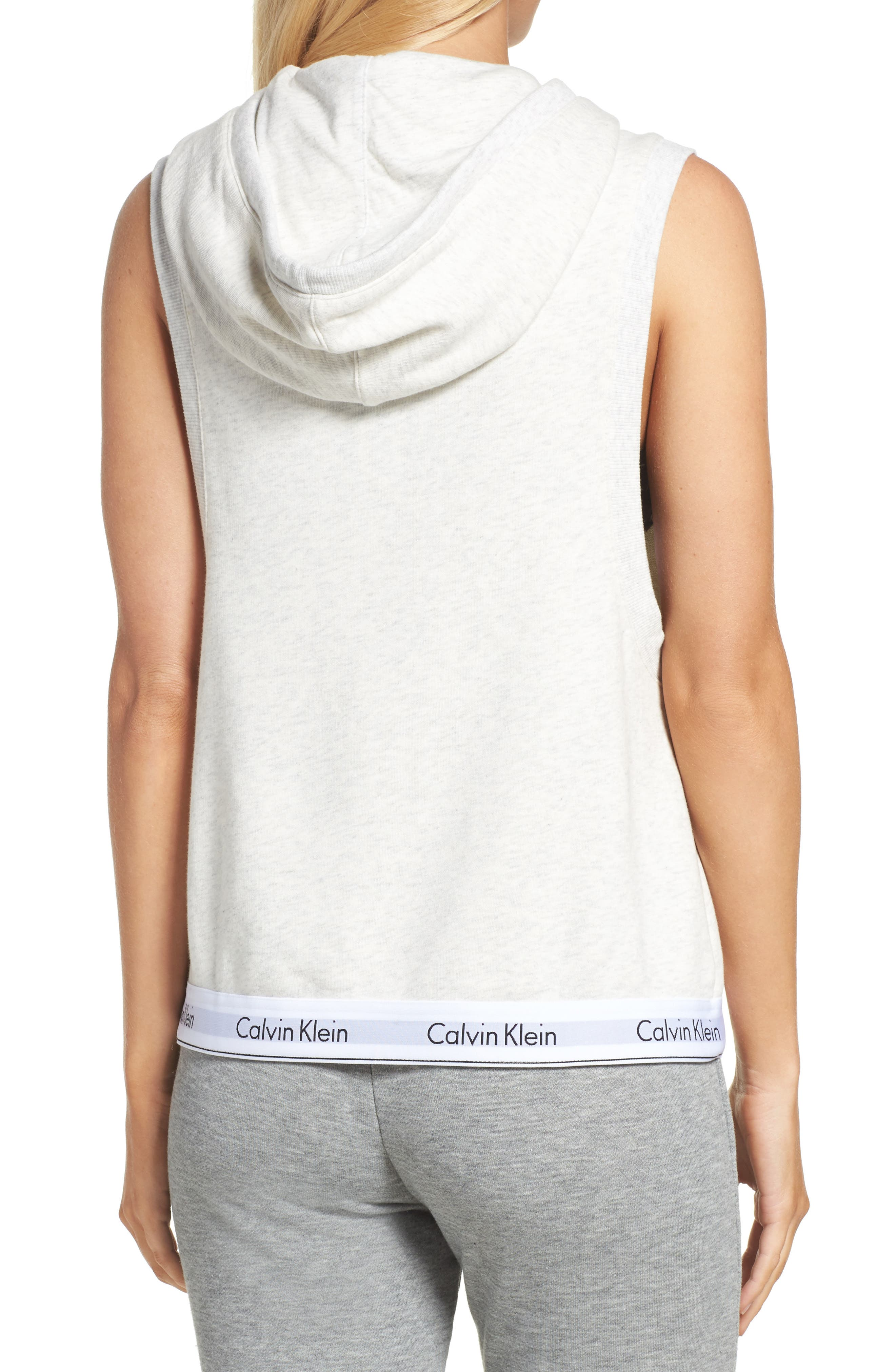 Alternate Image 2  - Calvin Klein Sleeveless Lounge Hoodie