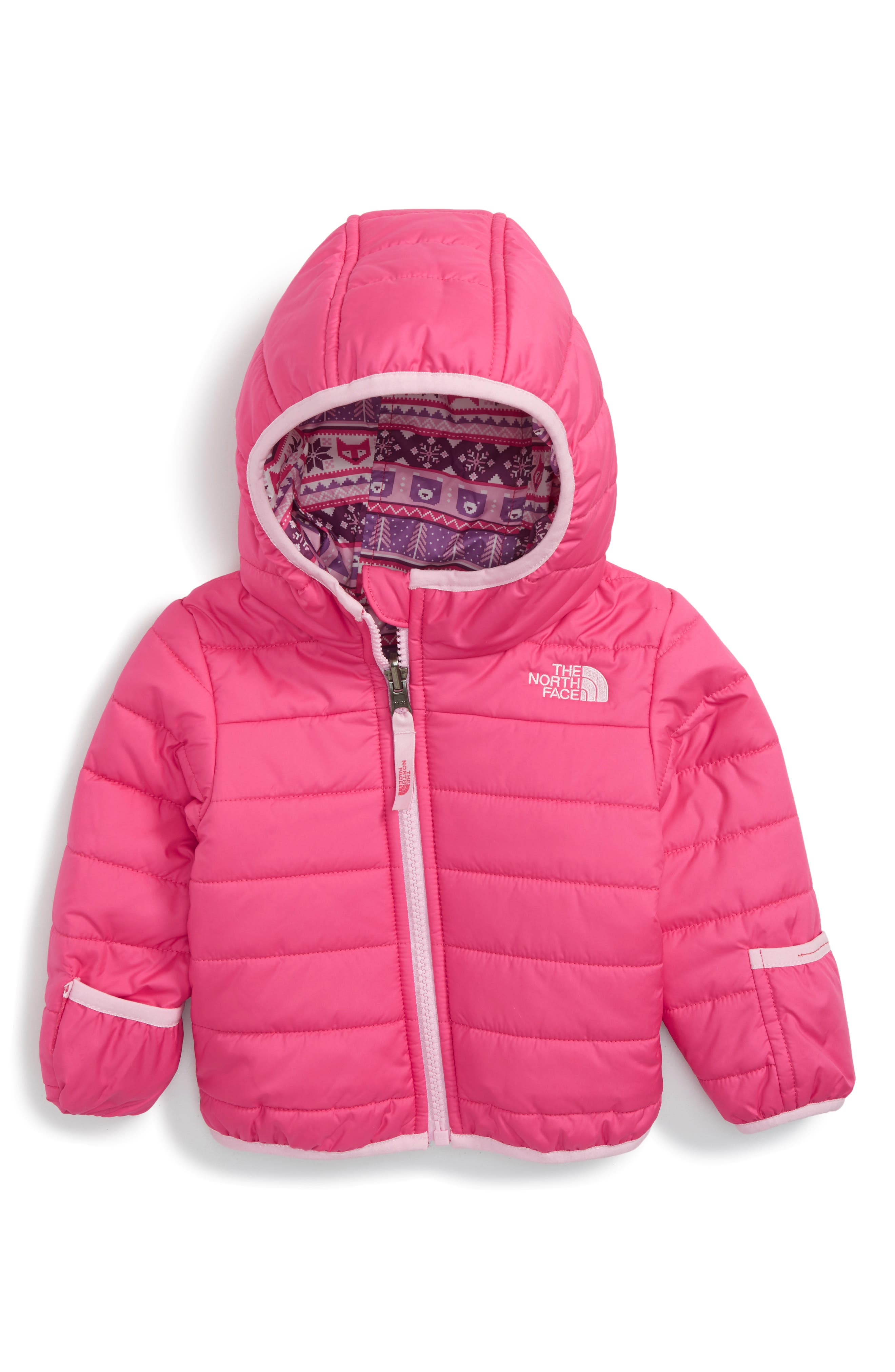 'Perrito' Reversible Water Repellent Hooded Jacket,                         Main,                         color, Petticoat Pink