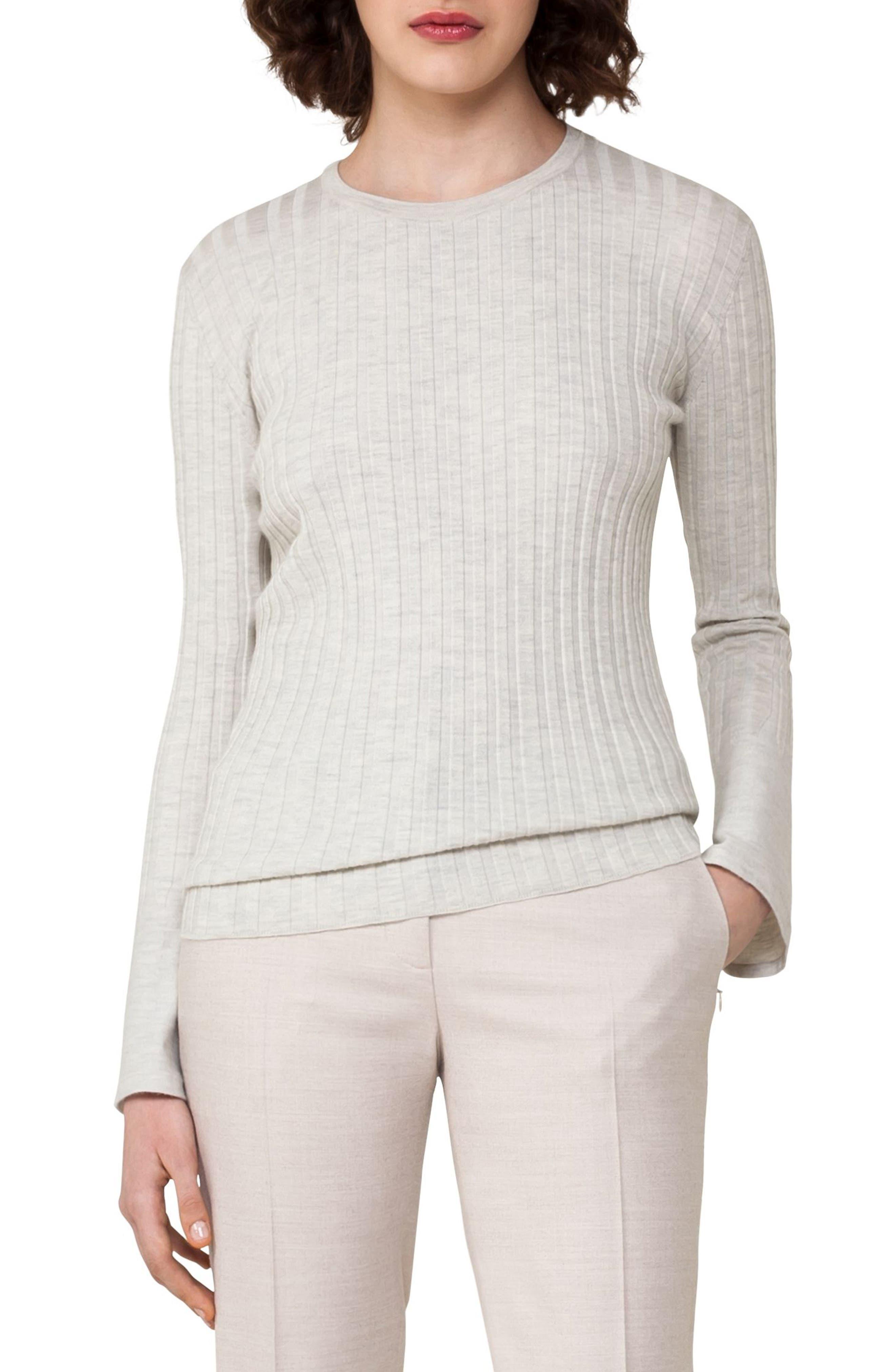 Rib Knit Stretch Cashmere & Silk Top,                         Main,                         color, Shore