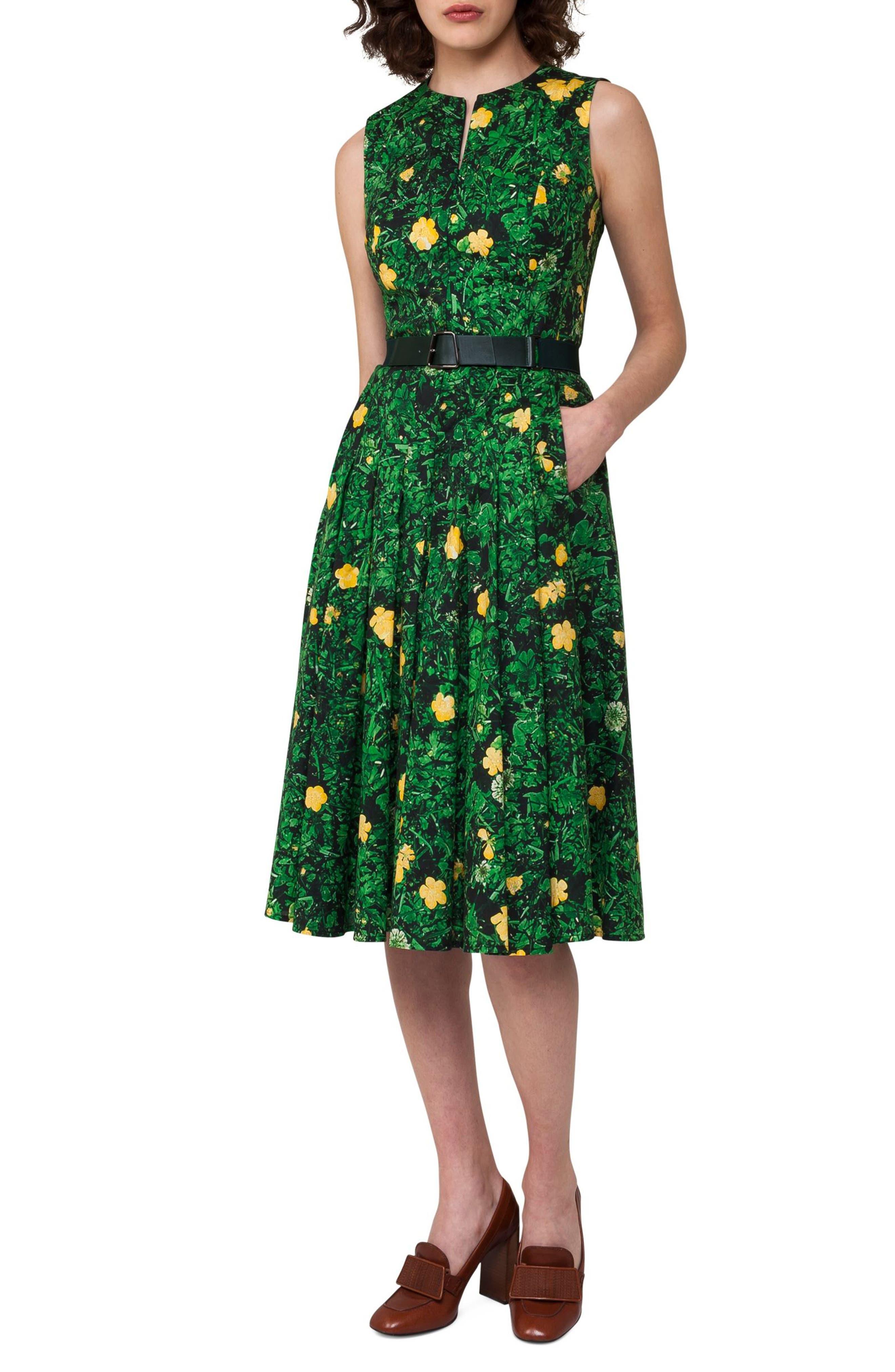 Akris Floral Print Pleated Cotton Dress