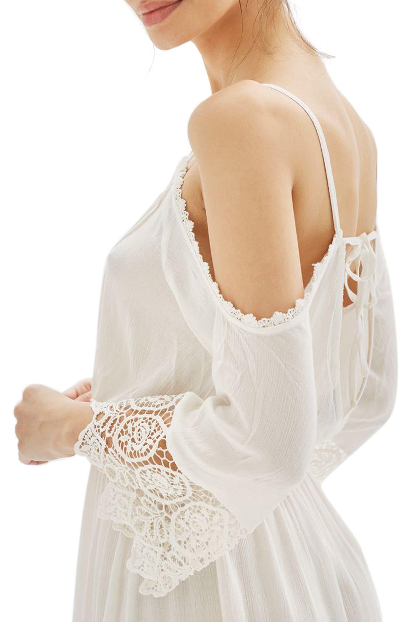 Alternate Image 4  - Topshop Lace Trim Cold Shoulder Dress