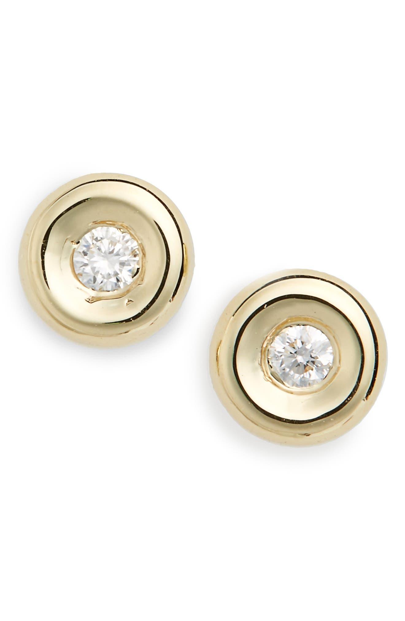 Tiny Treasures Diamond Stud Earrings,                             Main thumbnail 1, color,                             Yellow