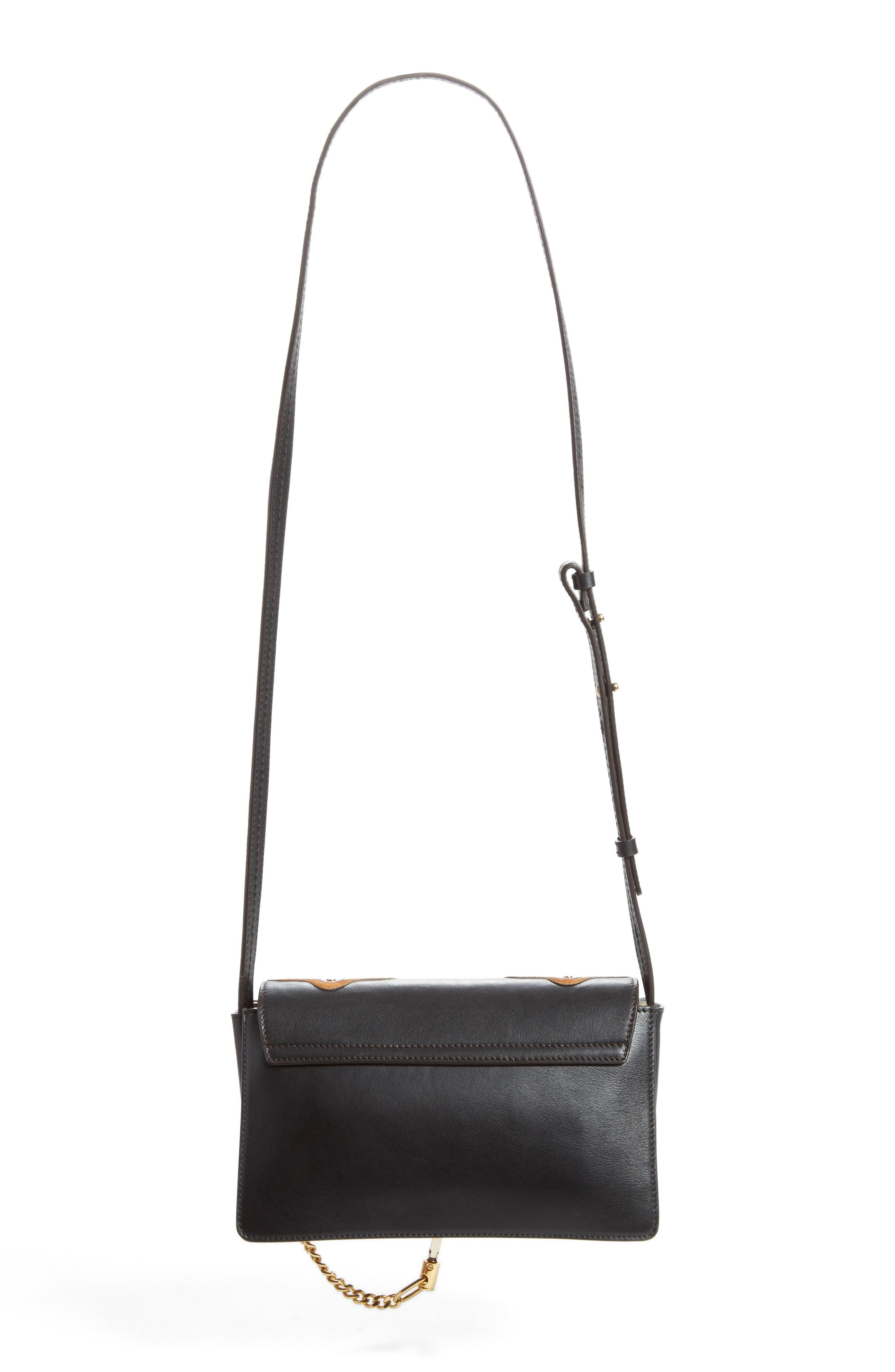 Small Faye Studded Leather & Suede Crossbody Bag,                             Alternate thumbnail 2, color,                             Black