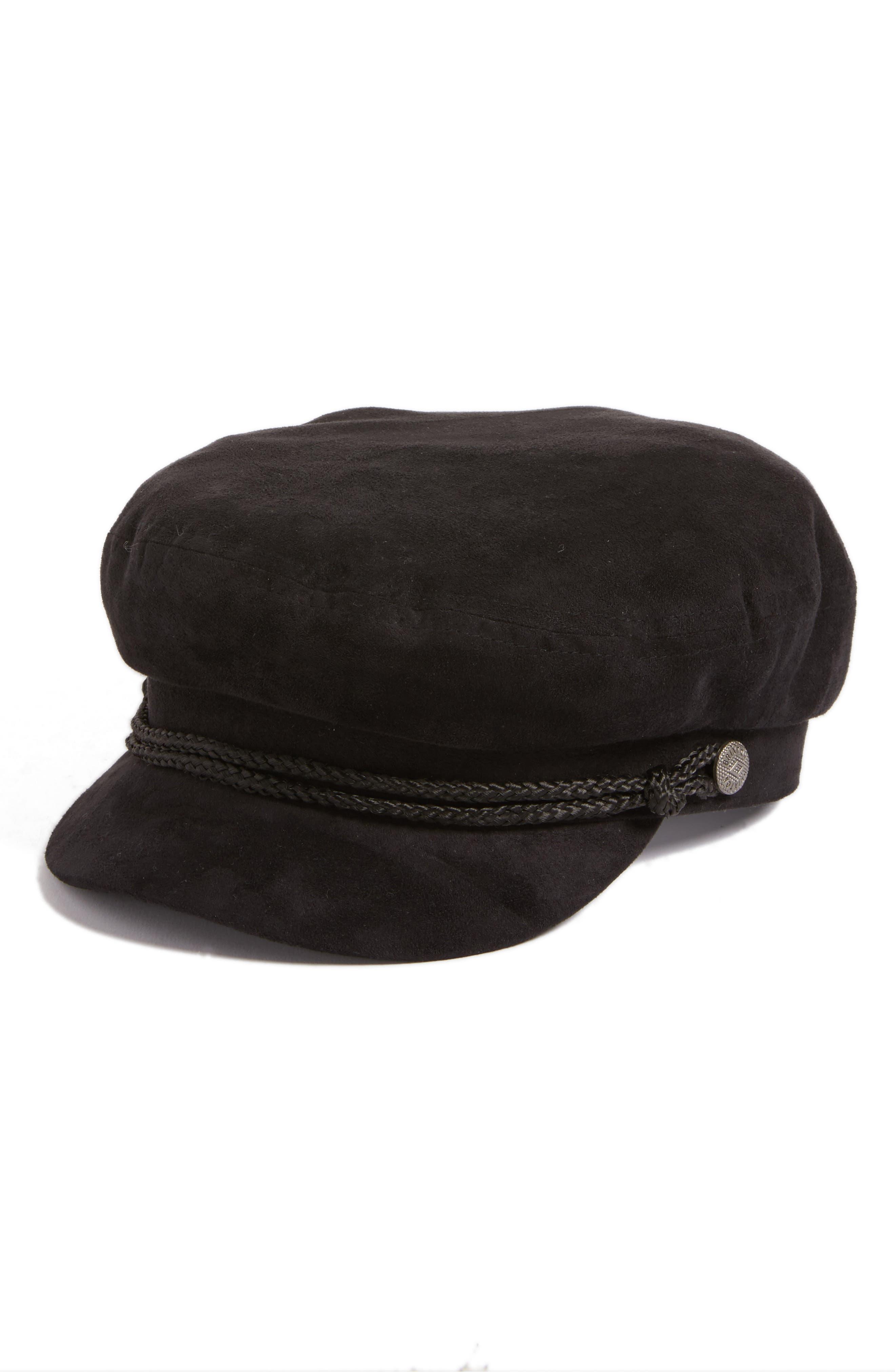 Fiddler Faux Suede Cap,                         Main,                         color, Black Suede
