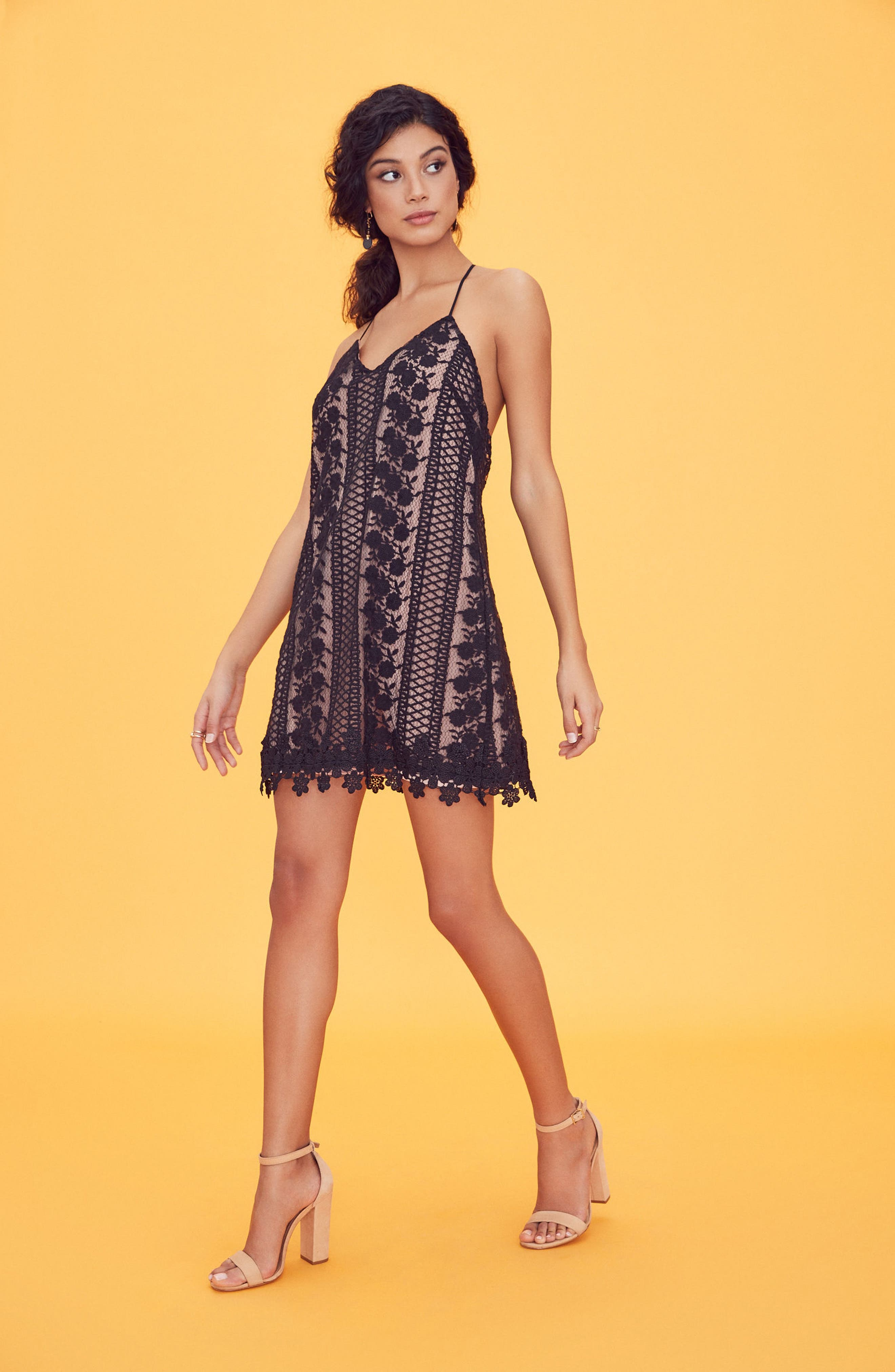 Acadia Lace Slipdress,                             Alternate thumbnail 2, color,                             Black