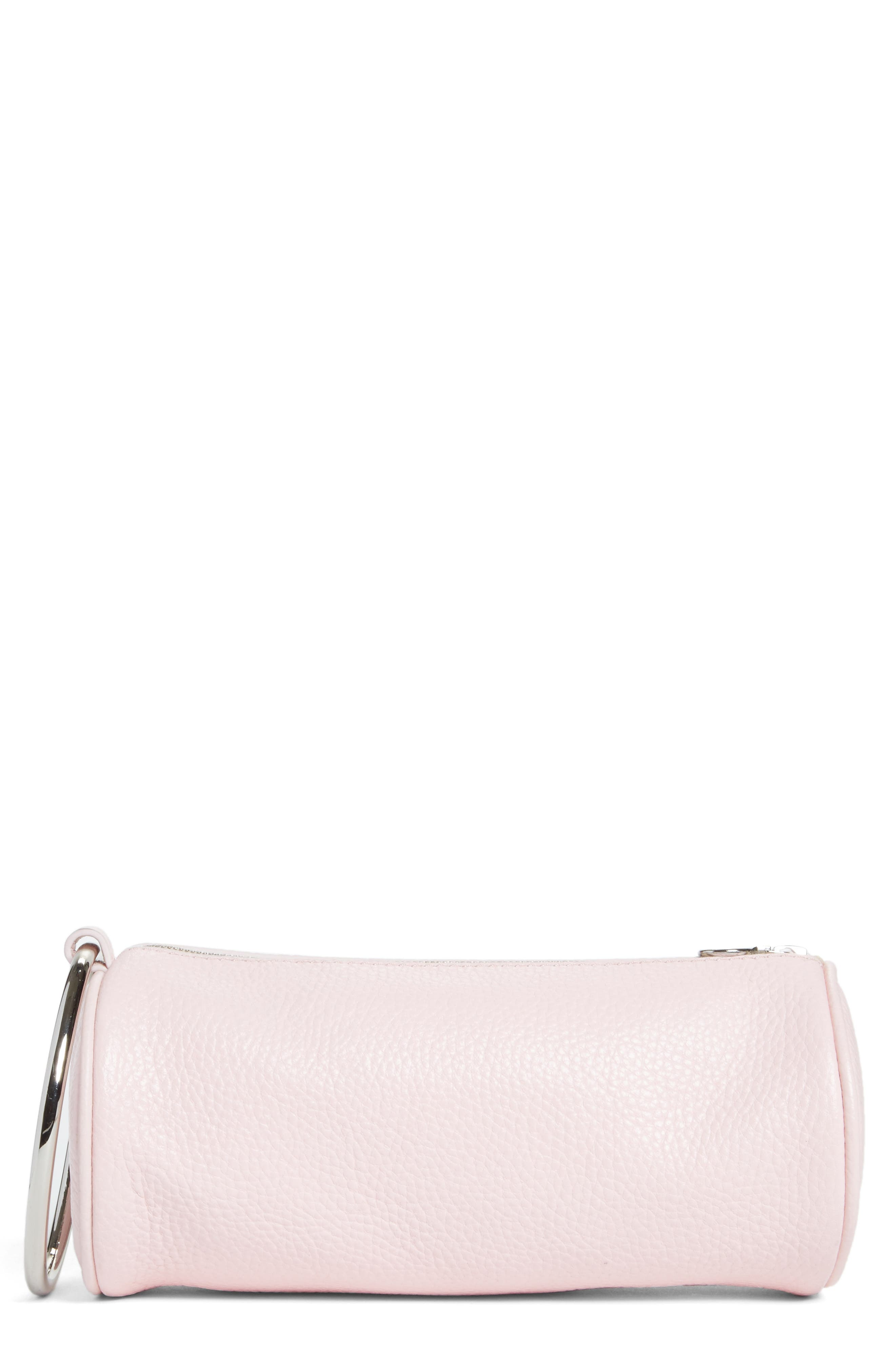 Pebbled Leather Duffel Wristlet Clutch,                         Main,                         color, Blush Pink