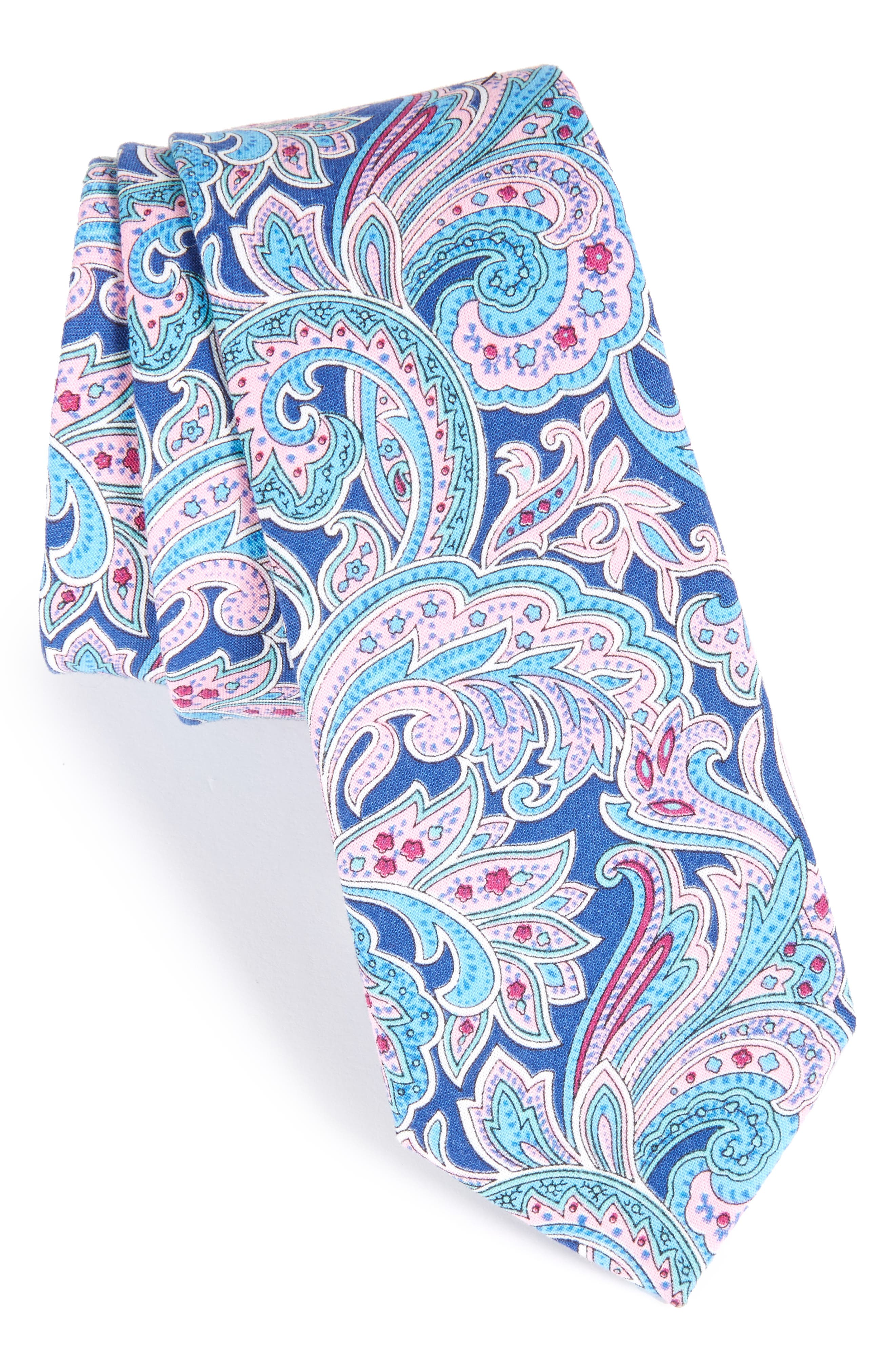Paisley Cotton Skinny Tie,                         Main,                         color, Navy