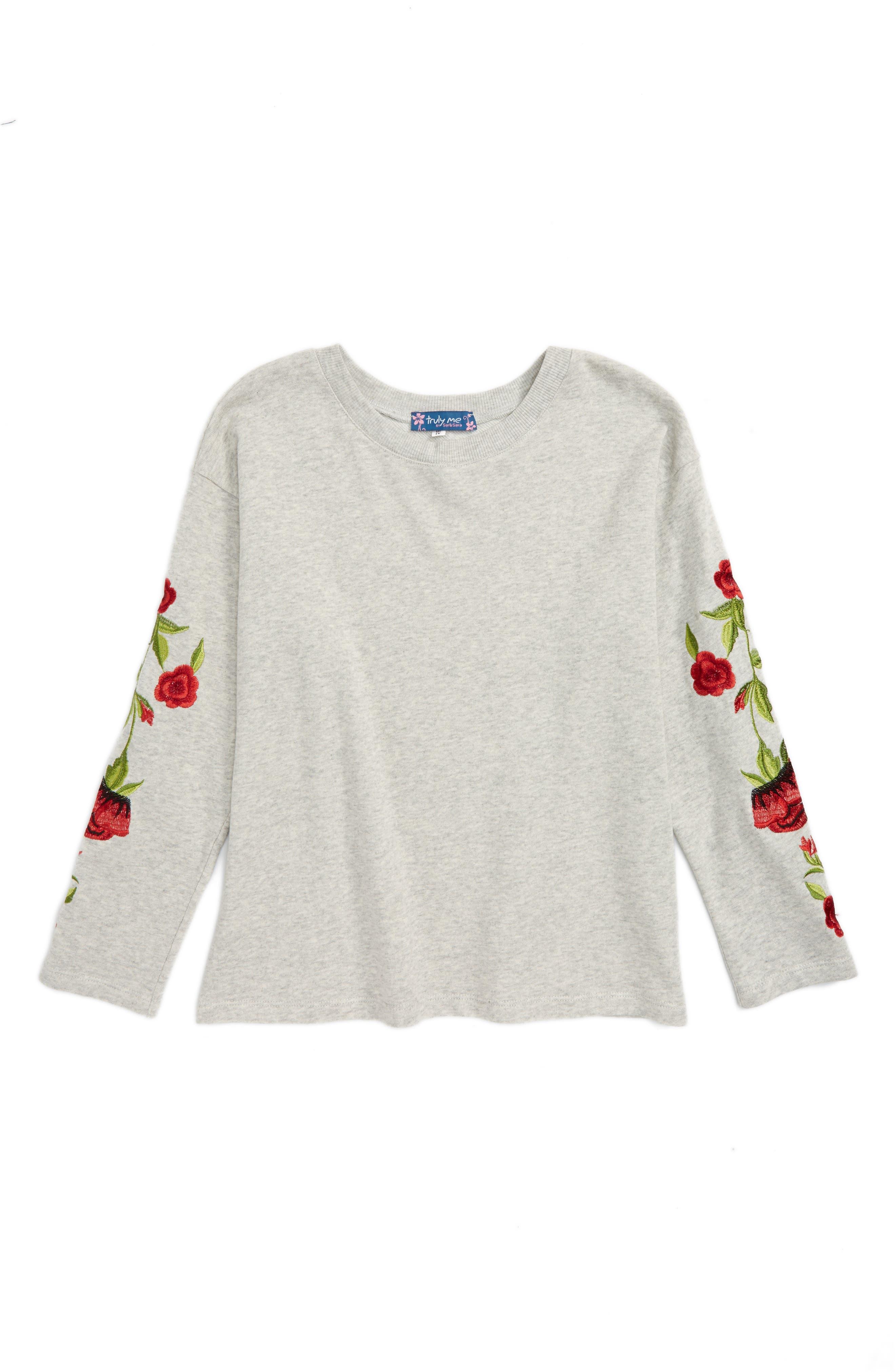 Main Image - Truly Me Embroidered Sweatshirt (Big Girls)