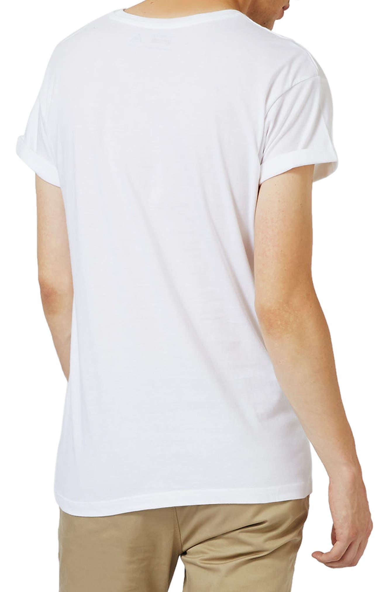 Roller Sleeve T-Shirt,                             Alternate thumbnail 3, color,                             White