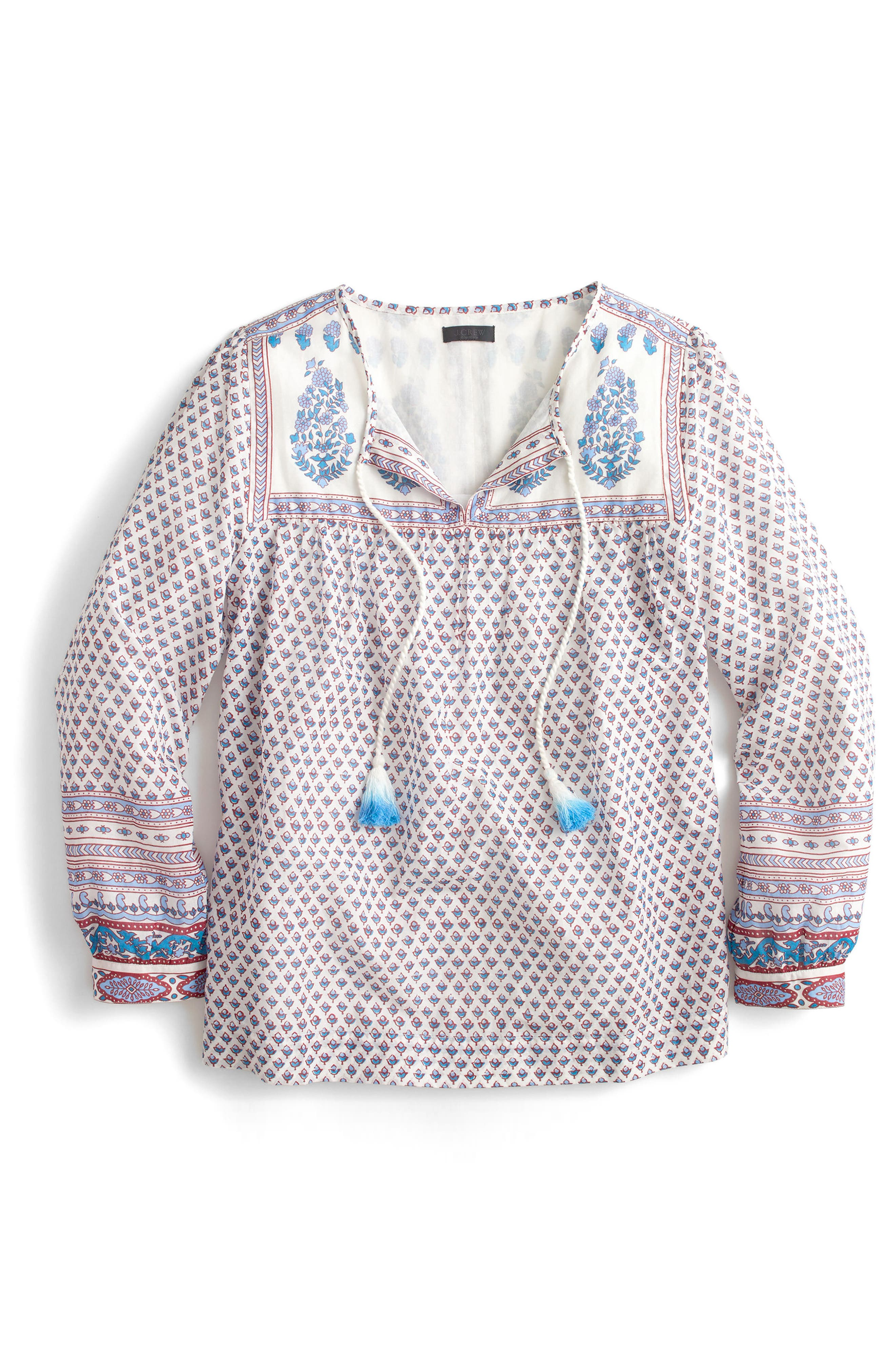 Floral Paisley Cotton Peasant Top,                             Alternate thumbnail 3, color,                             Bright Periwinkle