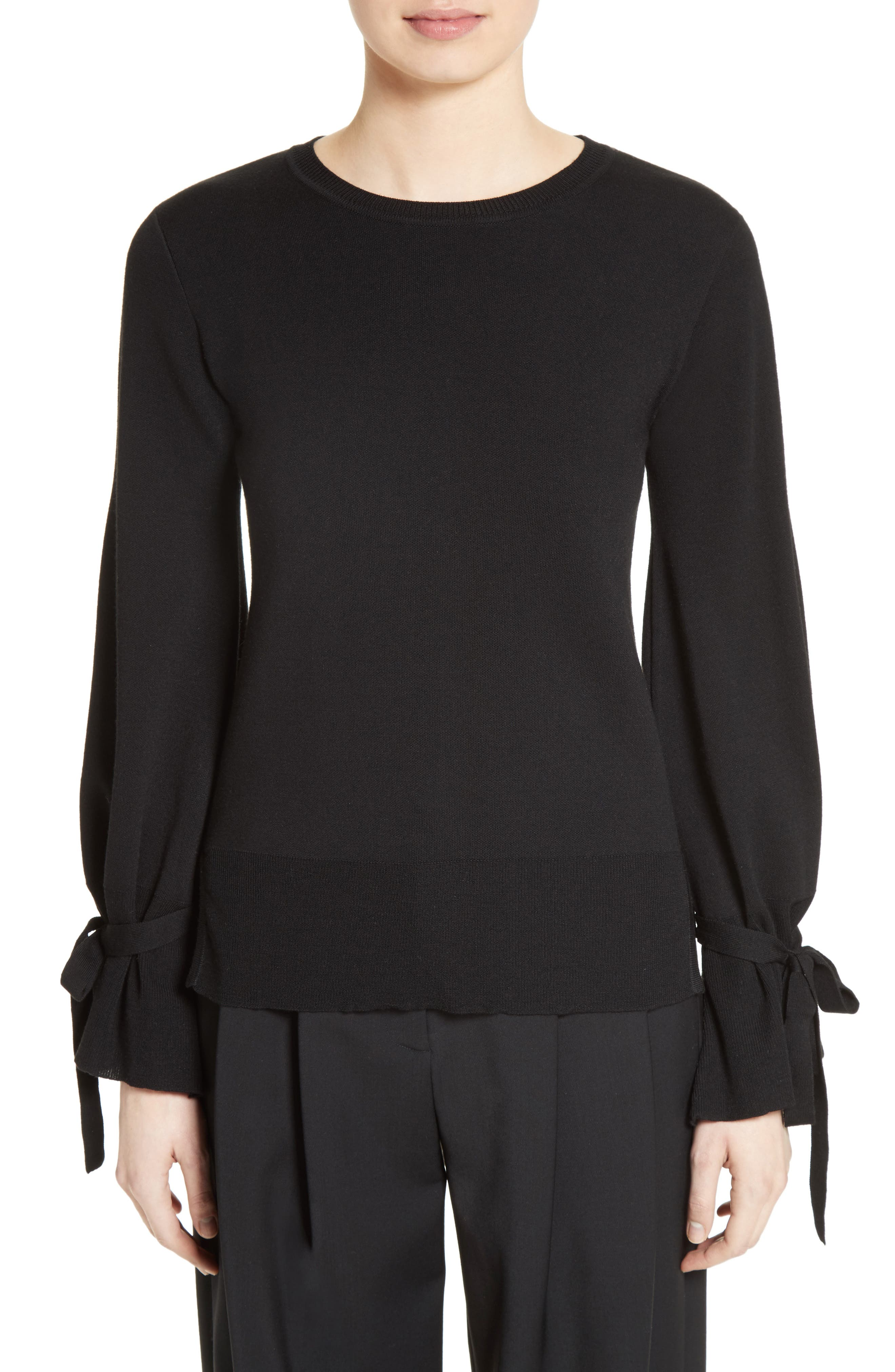 Merino Wool Bell Sleeve Sweater,                             Main thumbnail 1, color,                             Black