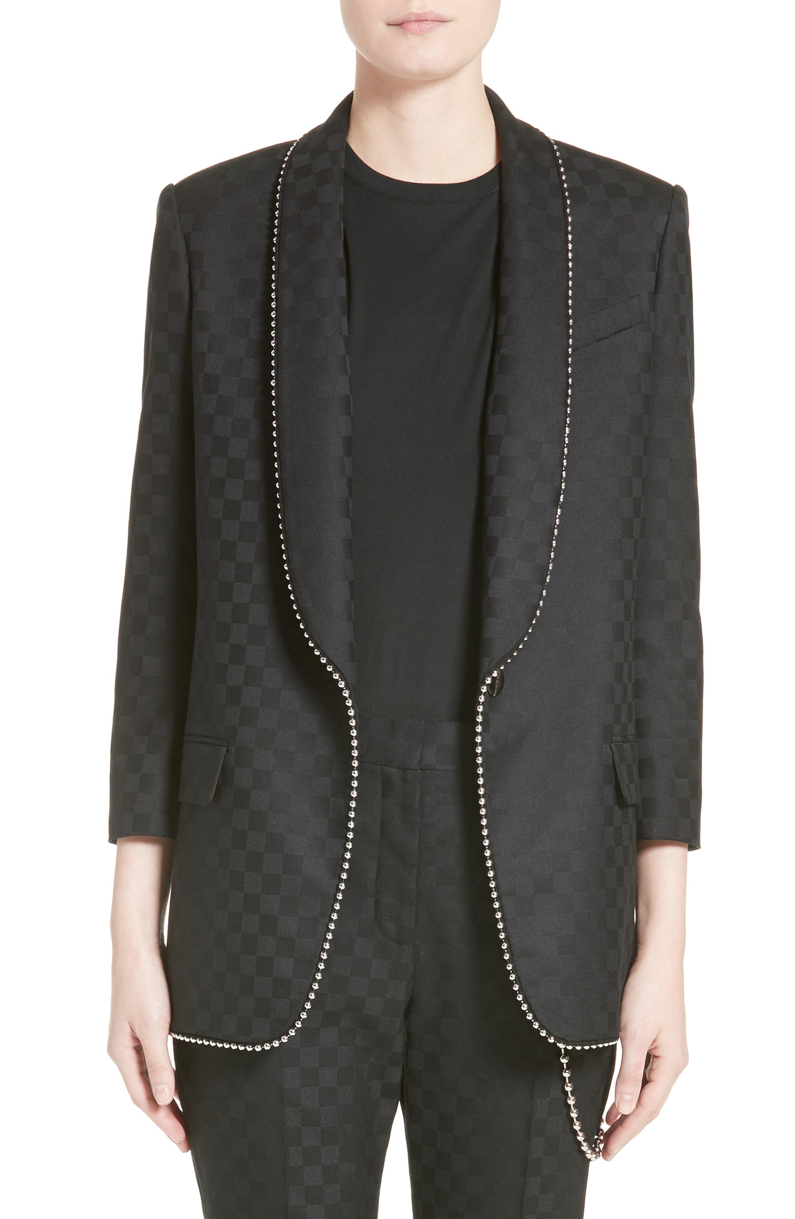 Chain Trim Checkerboard Wool Blazer,                             Main thumbnail 1, color,                             Onyx