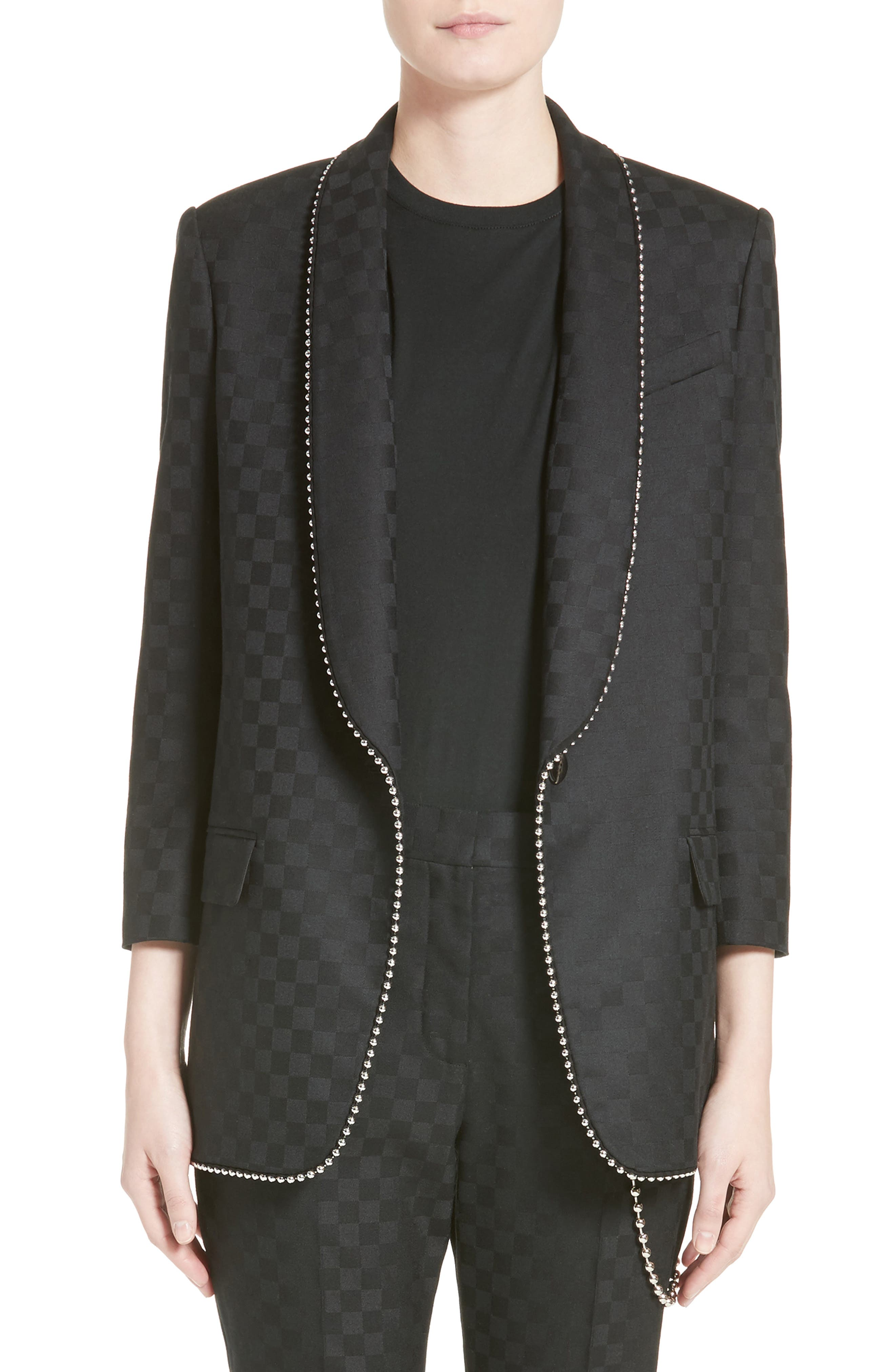 Chain Trim Checkerboard Wool Blazer,                         Main,                         color, Onyx