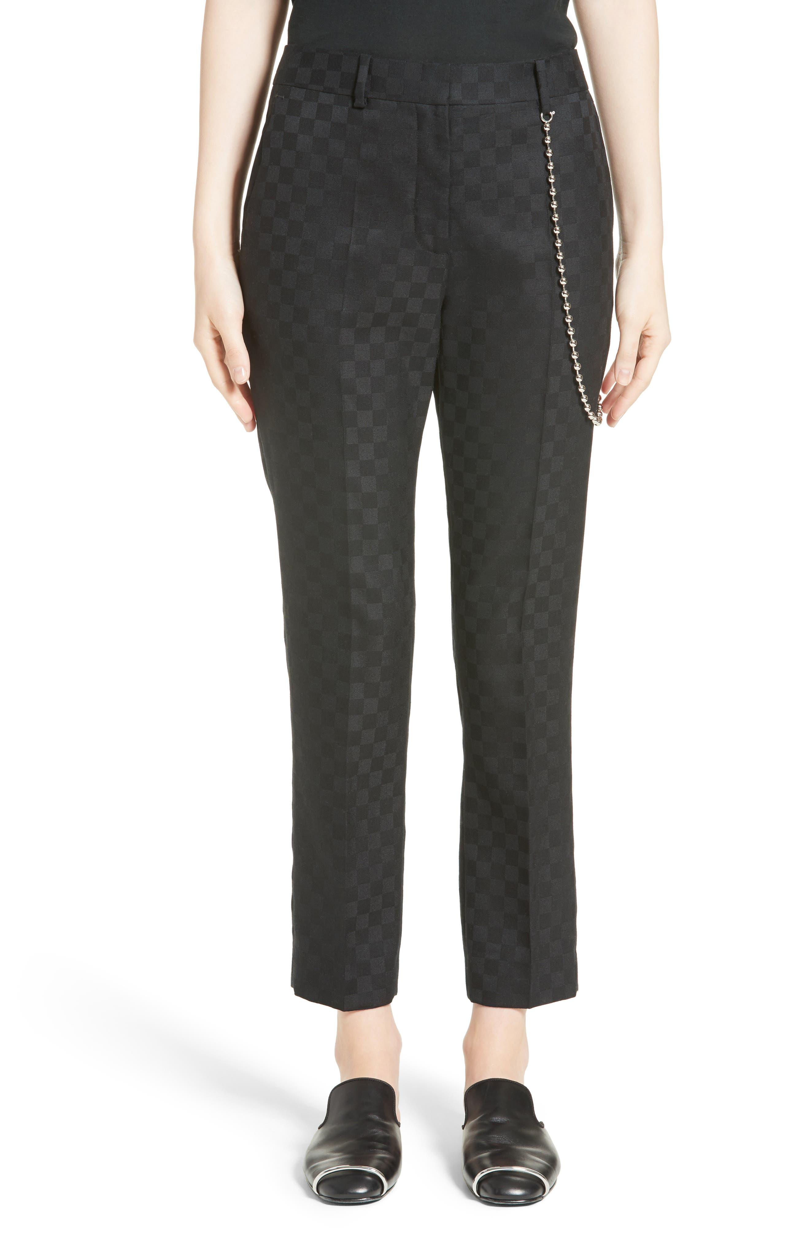 Alternate Image 1 Selected - Alexander Wang Chain Trim Checkerboard Pants
