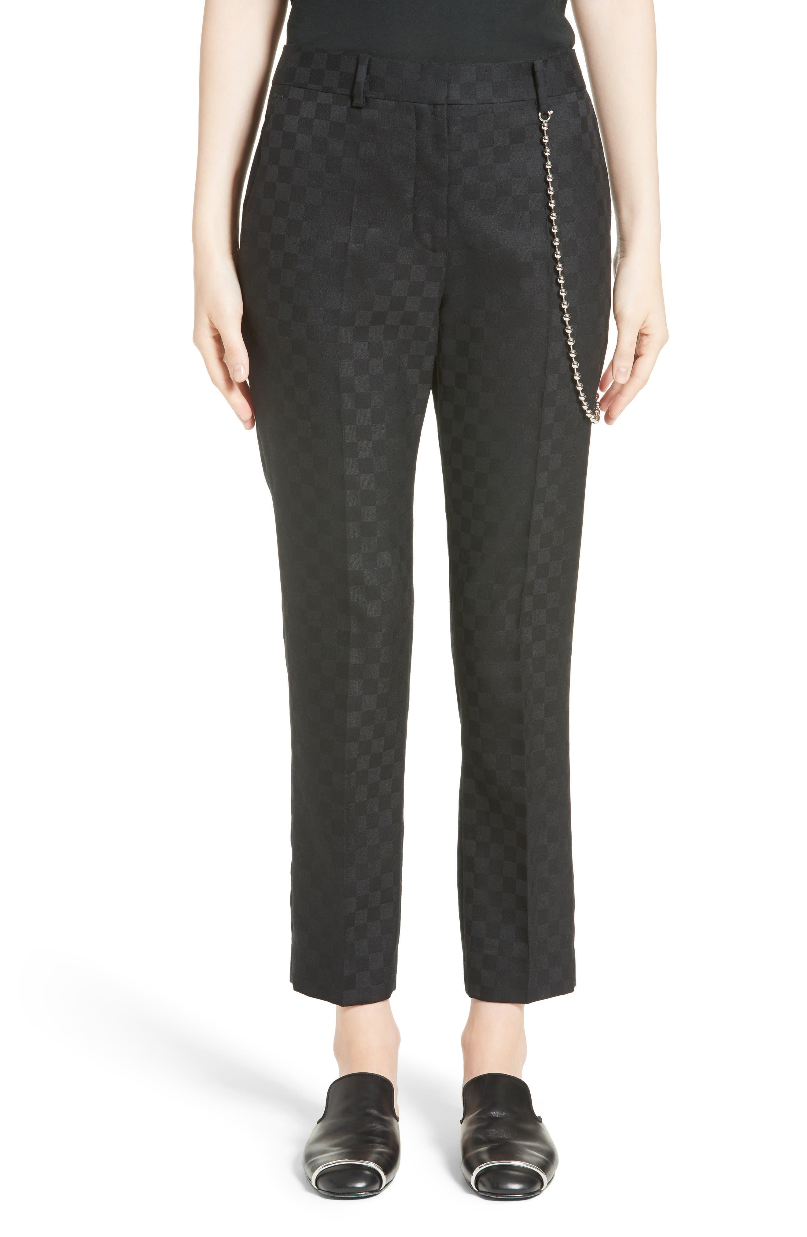 Chain Trim Checkerboard Pants,                         Main,                         color, Onyx