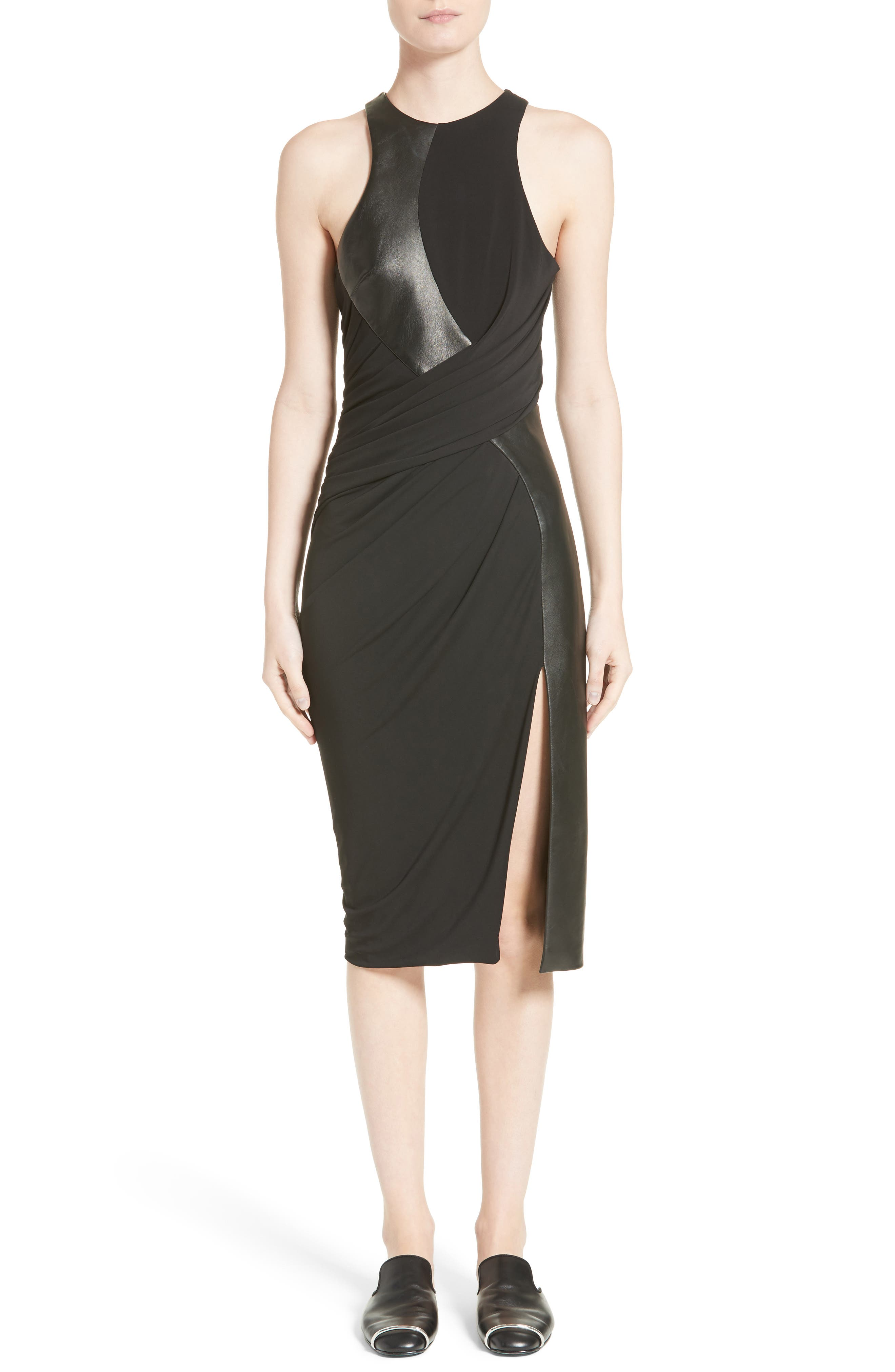 Draped Jersey & Leather Dress,                         Main,                         color, Onyx