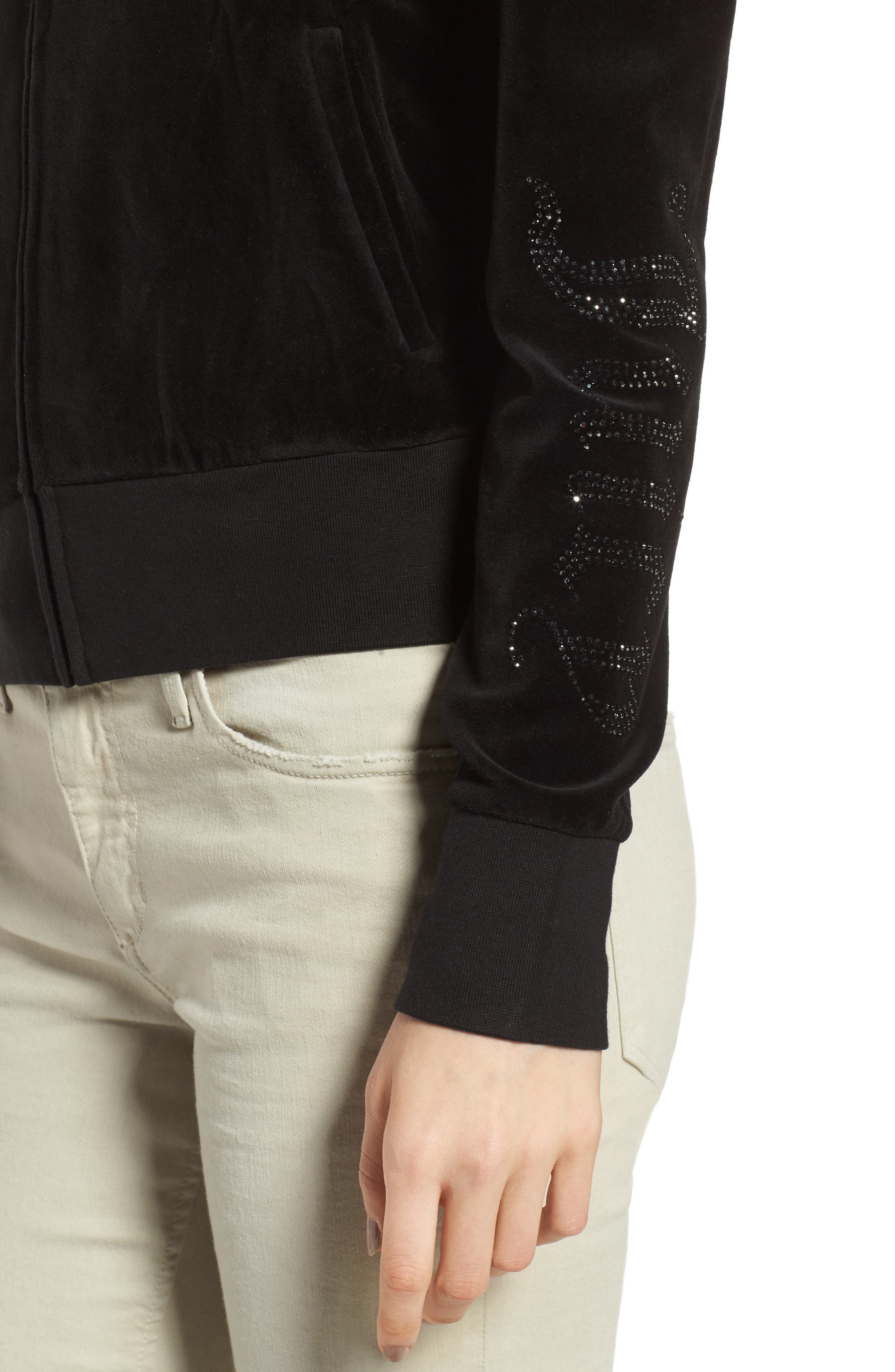 Alternate Image 4  - Juicy Couture Puff Sleeve Velour Track Jacket