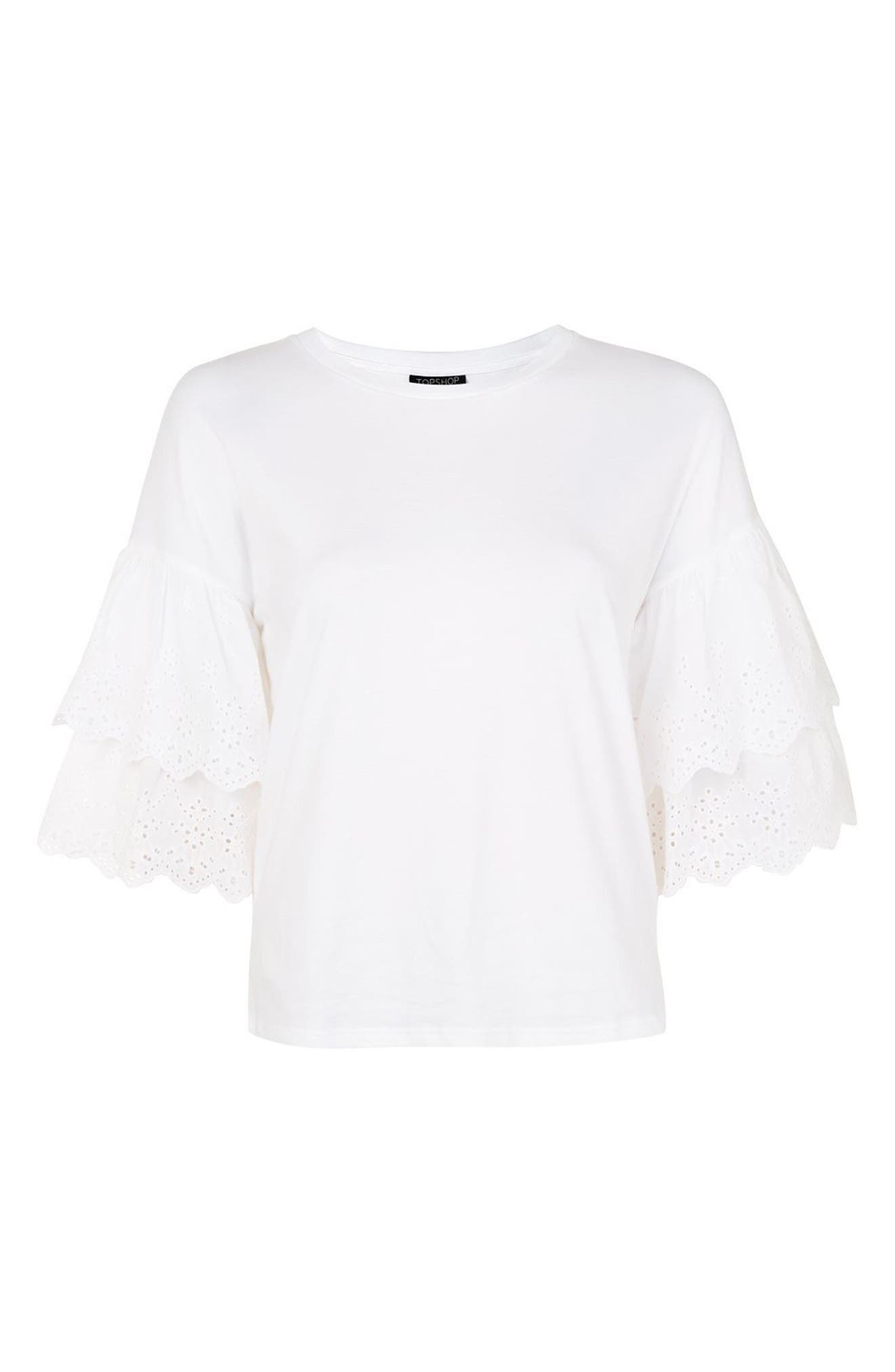 Eyelet Layer Sleeve Tee T-Shirt,                             Alternate thumbnail 4, color,                             White
