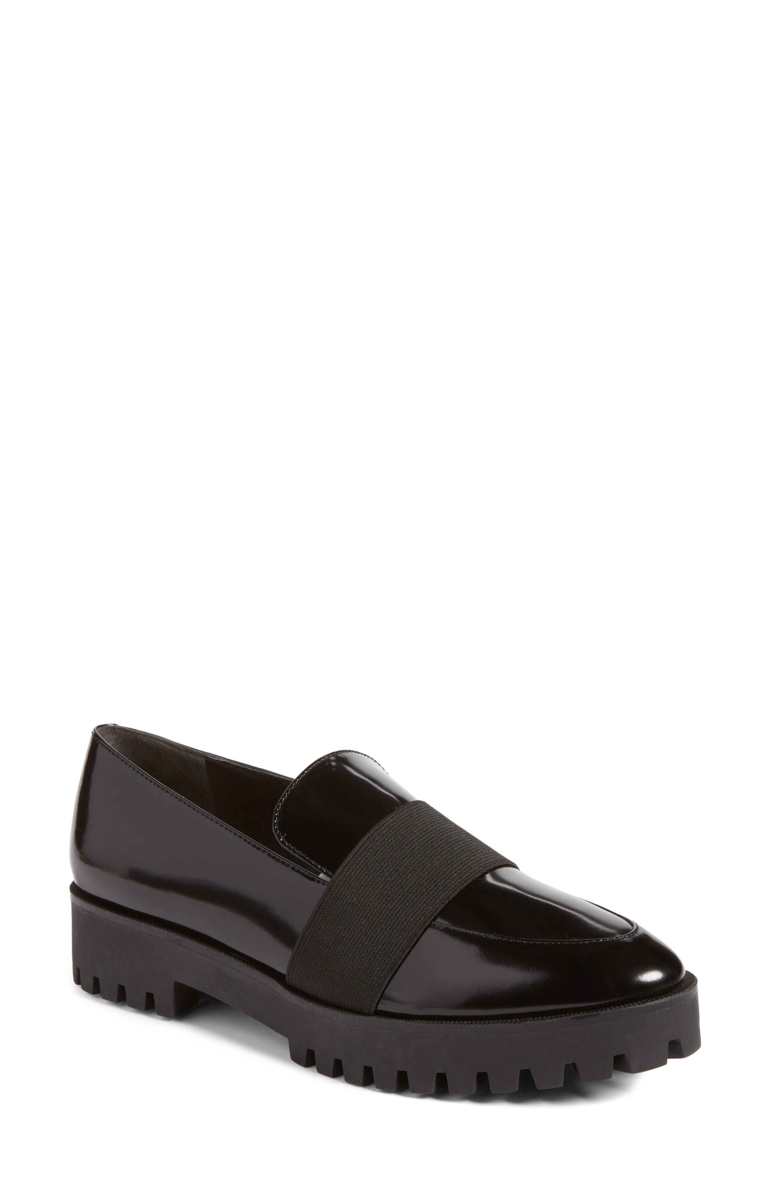 Gallo Platform Loafer,                         Main,                         color, Black Leather