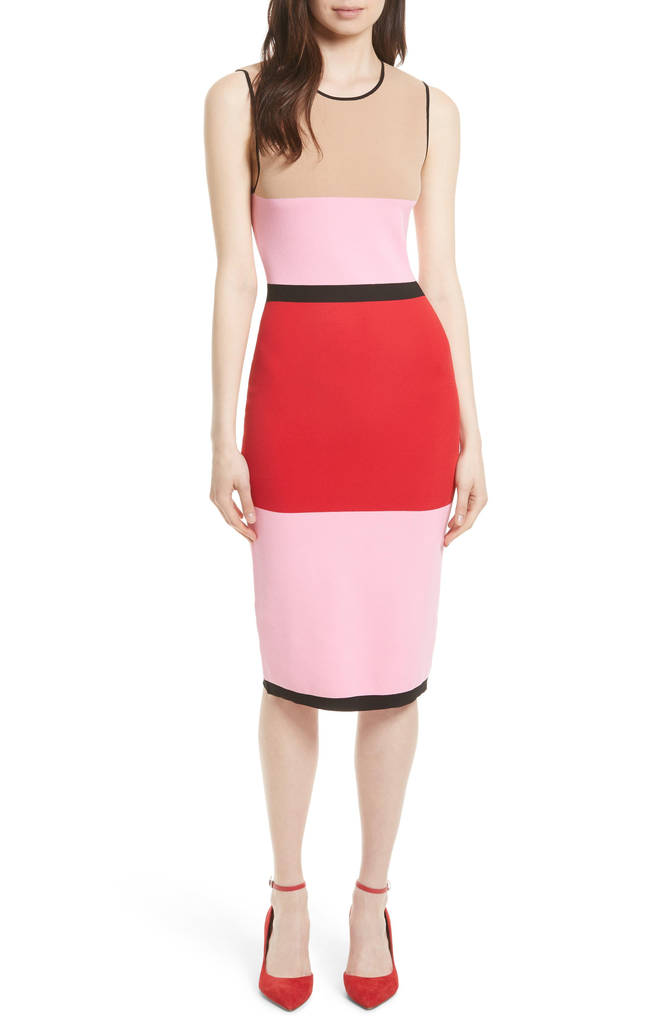 Colorblock Knit Dress,                         Main,                         color, Black/ Red/ Pink/ Camel