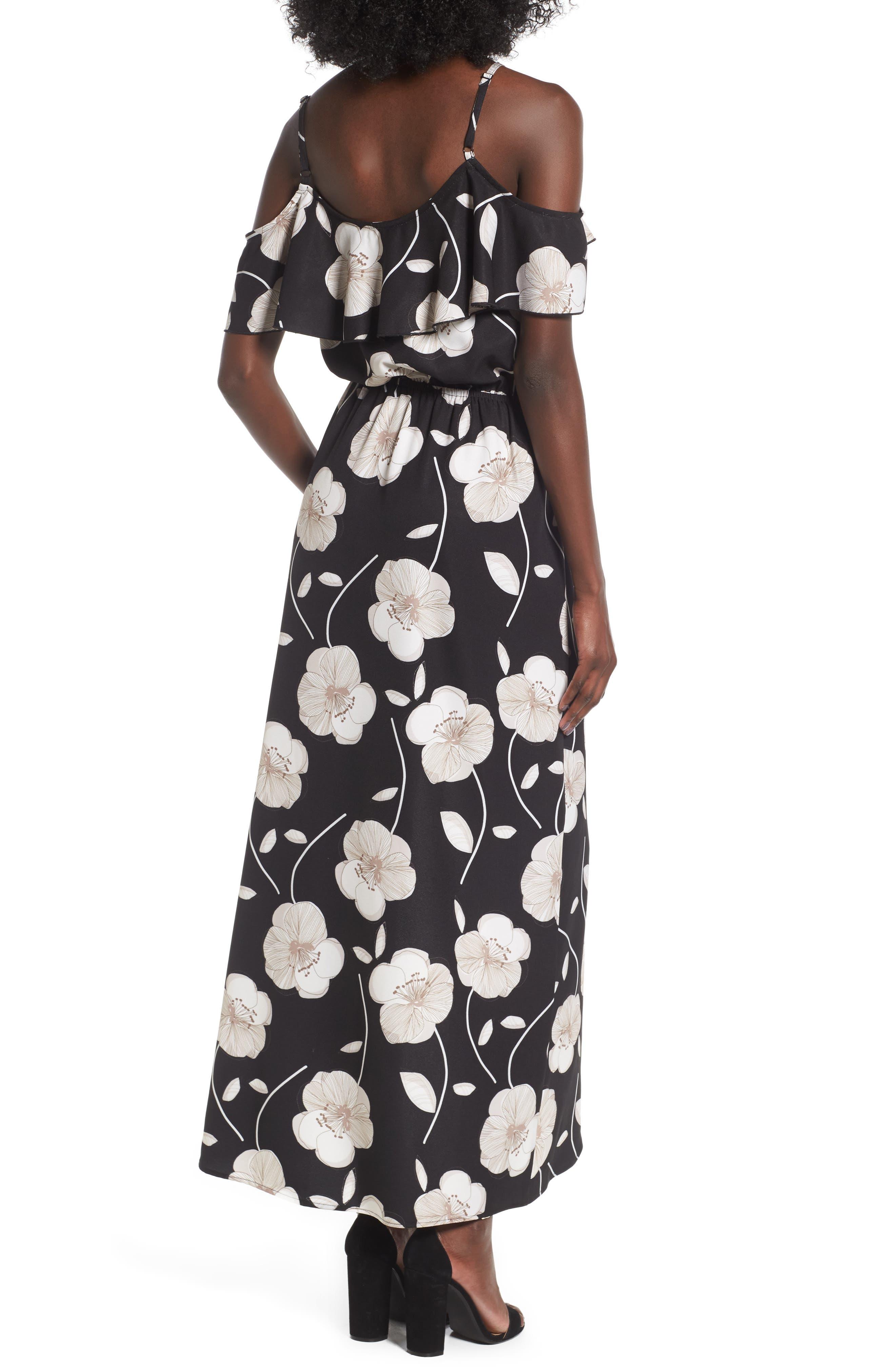 Cold Shoulder Asymmetrical Maxi Dress,                             Alternate thumbnail 2, color,                             Black