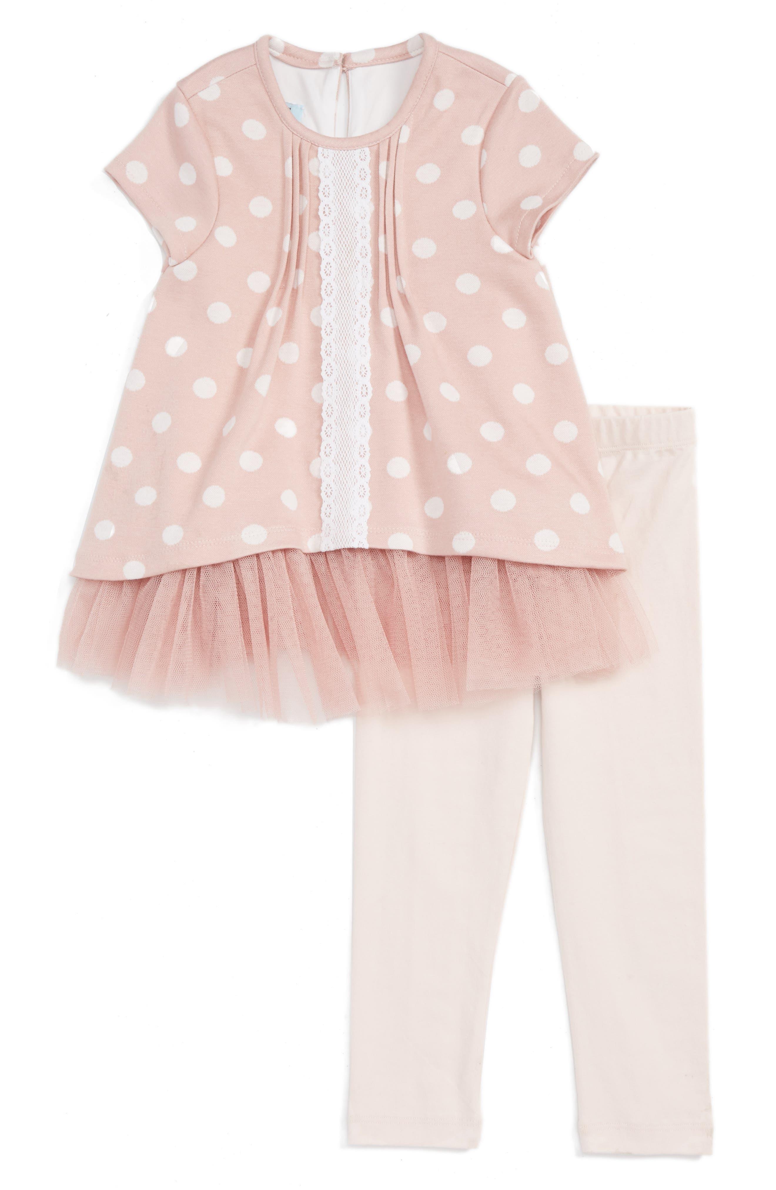 Pippa & Julie Dot Tulle Skirted Tunic & Leggings Set (Toddler Girls & Little Girls)