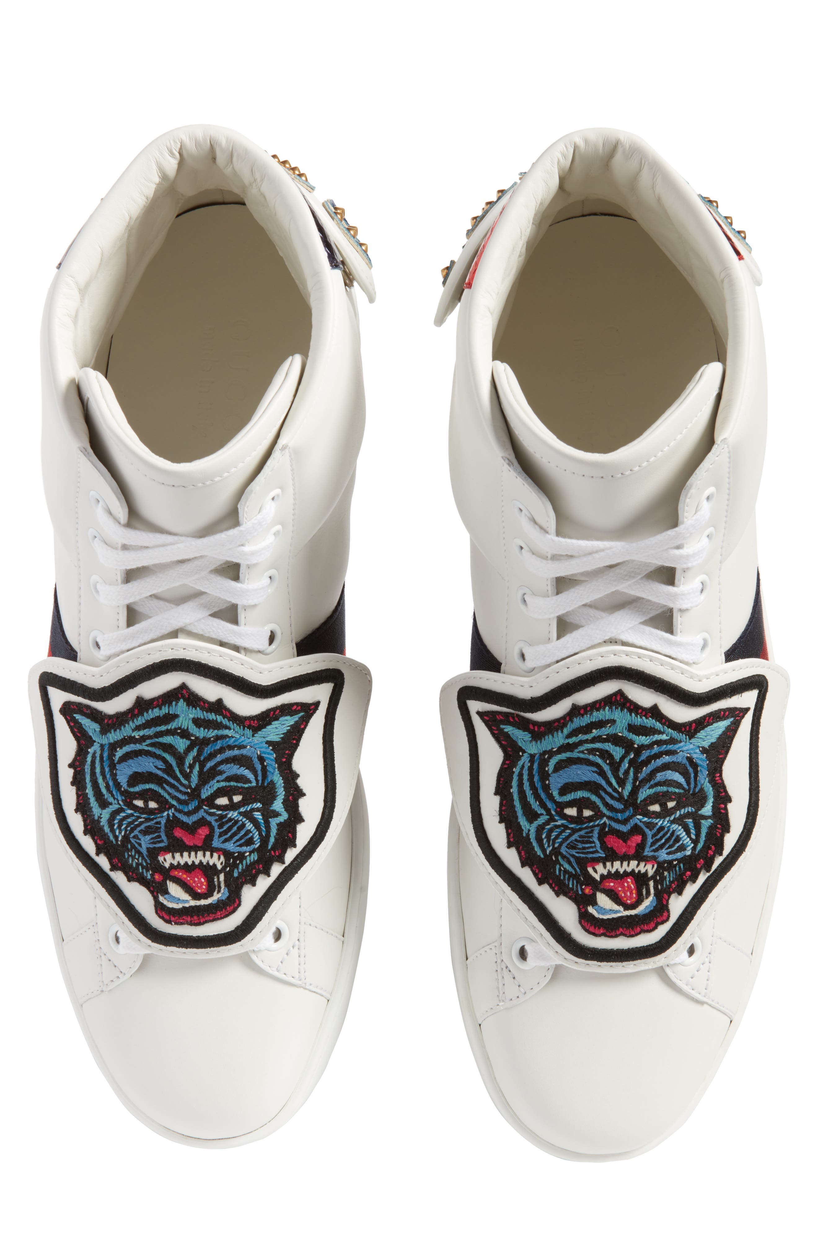 New Ace Jaguar Embroidered Patch High Top Sneaker,                             Alternate thumbnail 5, color,                             Bianco