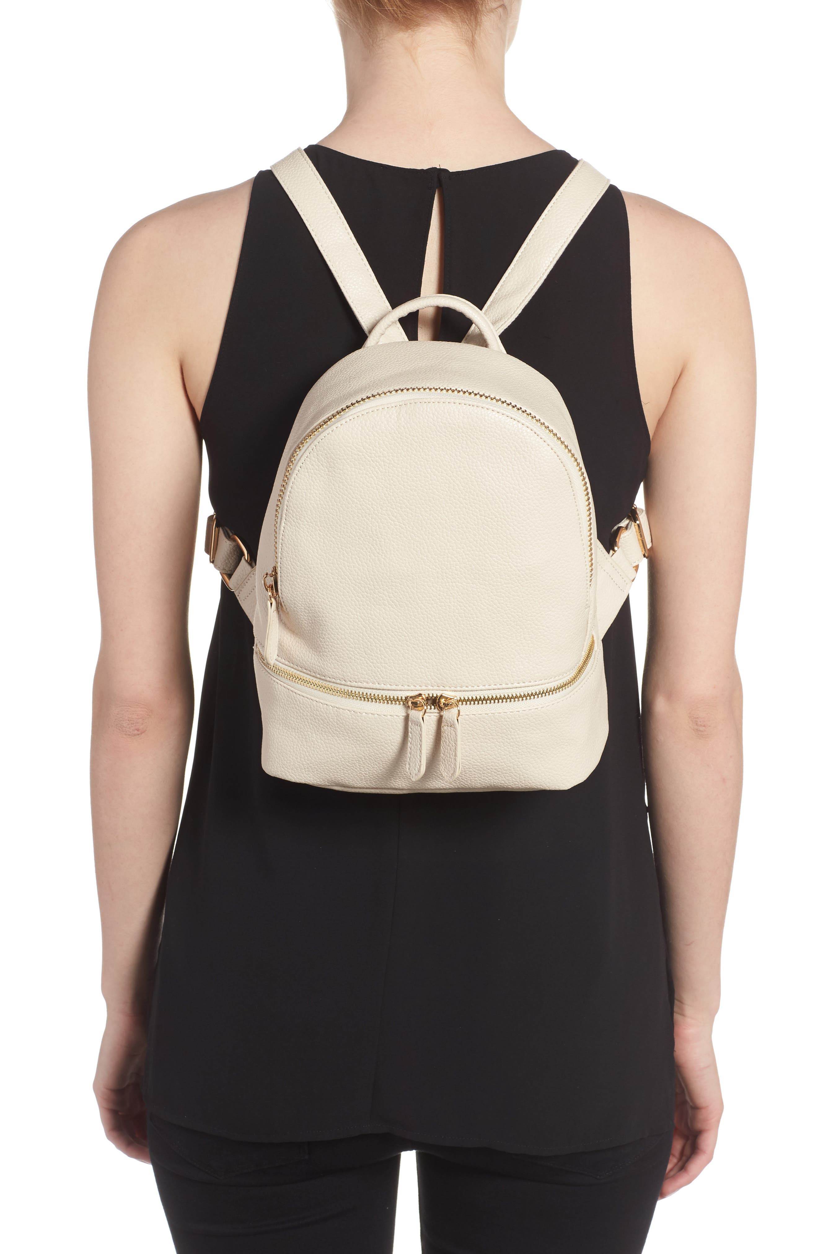 Alternate Image 2  - Girly Faux Leather Mini Zip Backpack