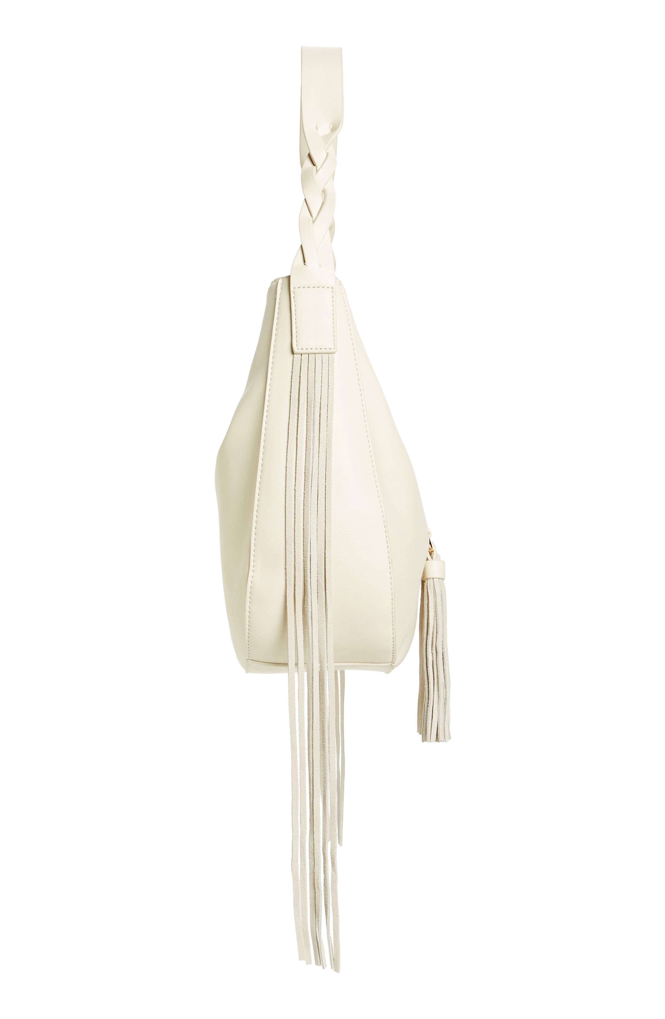 Lace-Up Tassel Faux Leather Hobo,                             Alternate thumbnail 4, color,                             White
