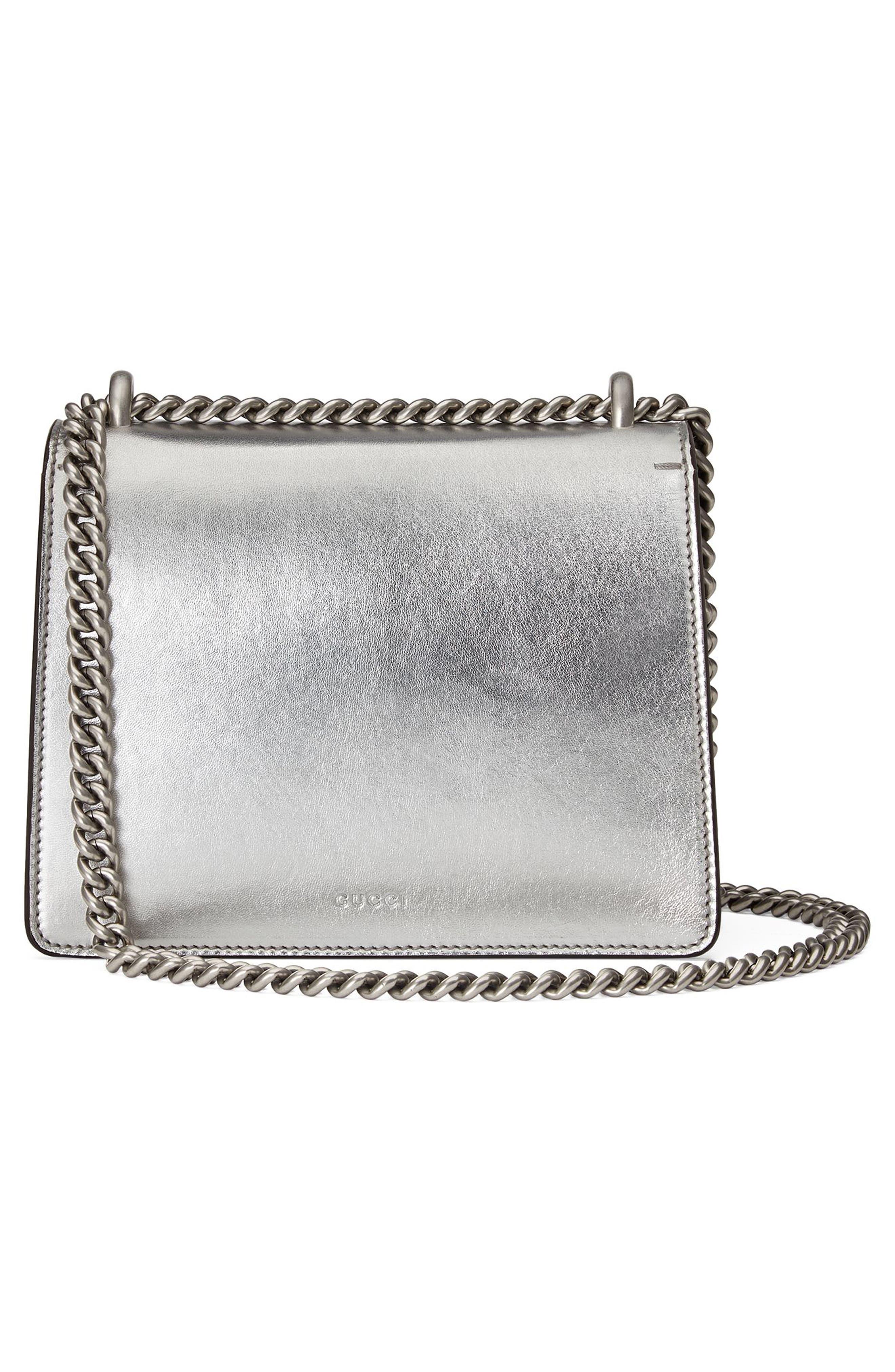 Mini Dionysus Metallic Leather Shoulder Bag,                             Alternate thumbnail 2, color,                             Argento/Blk Diamond