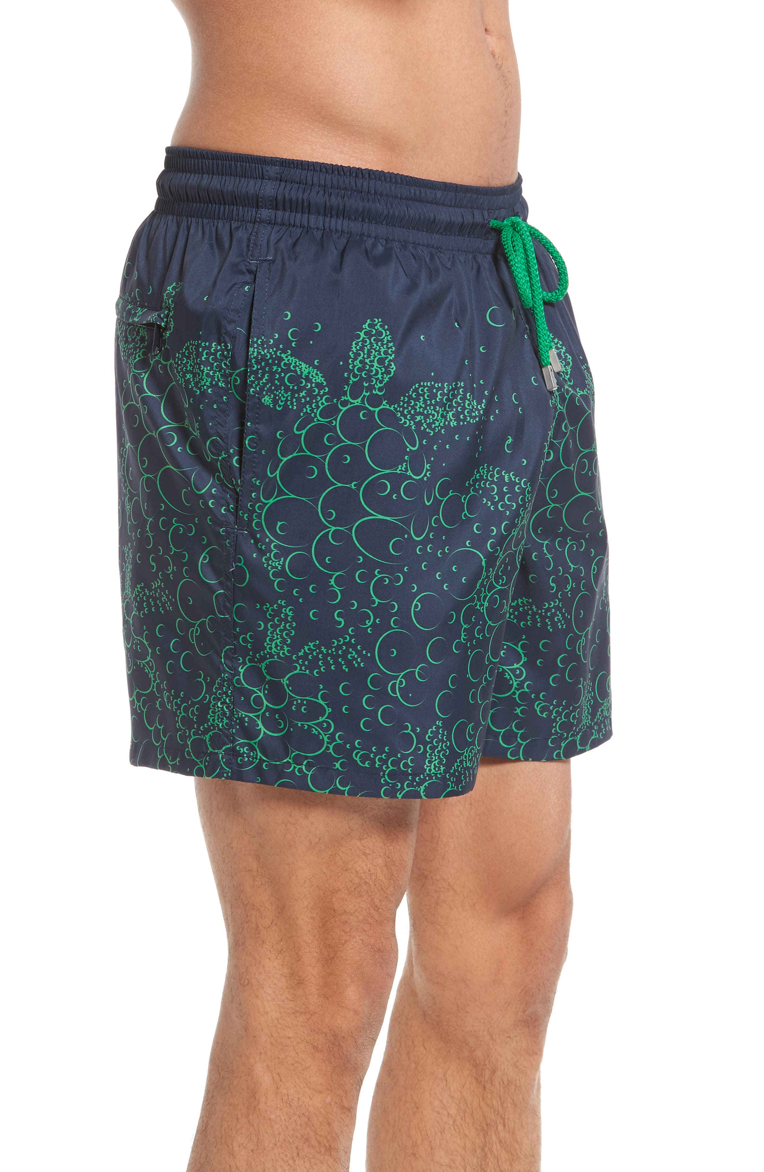 Mahina Bubble Turtles Print Swim Trunks,                             Alternate thumbnail 3, color,                             Navy Blue