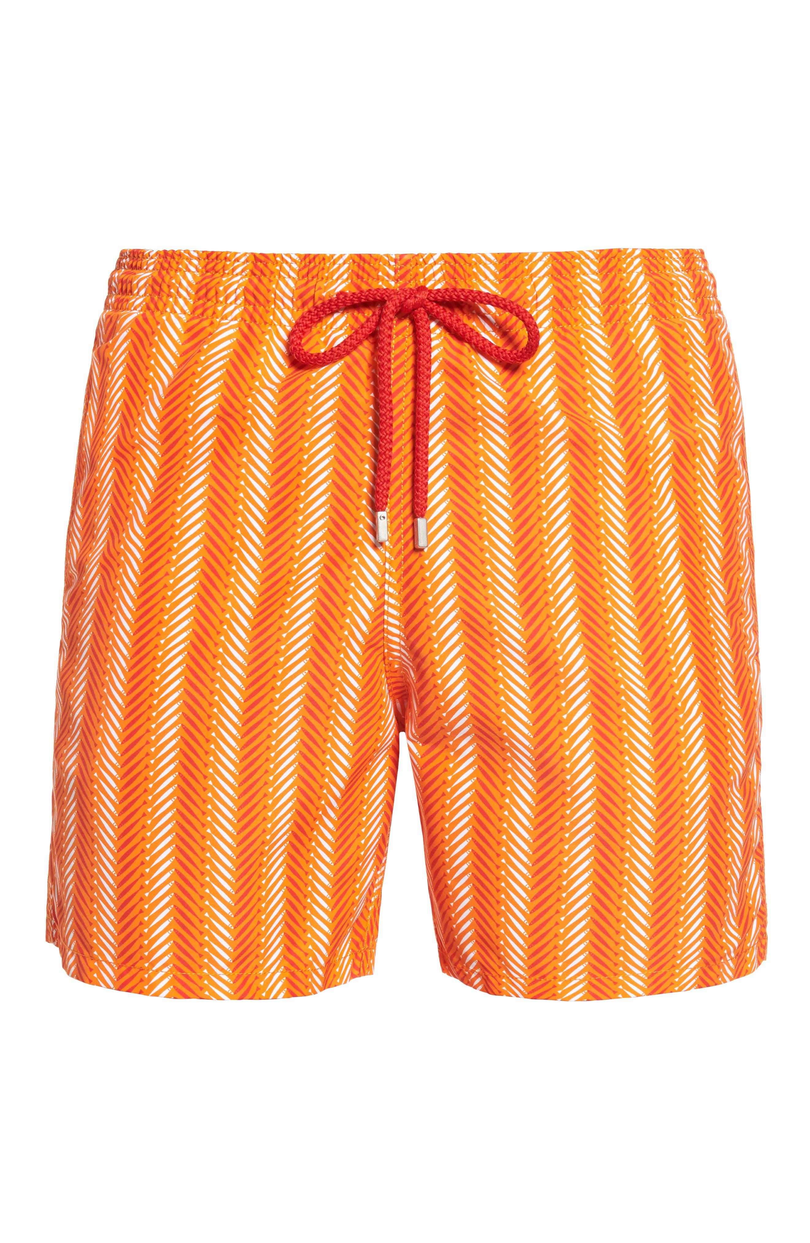 Moorea V-Fish Print Swim Trunks,                             Alternate thumbnail 6, color,                             Papaya