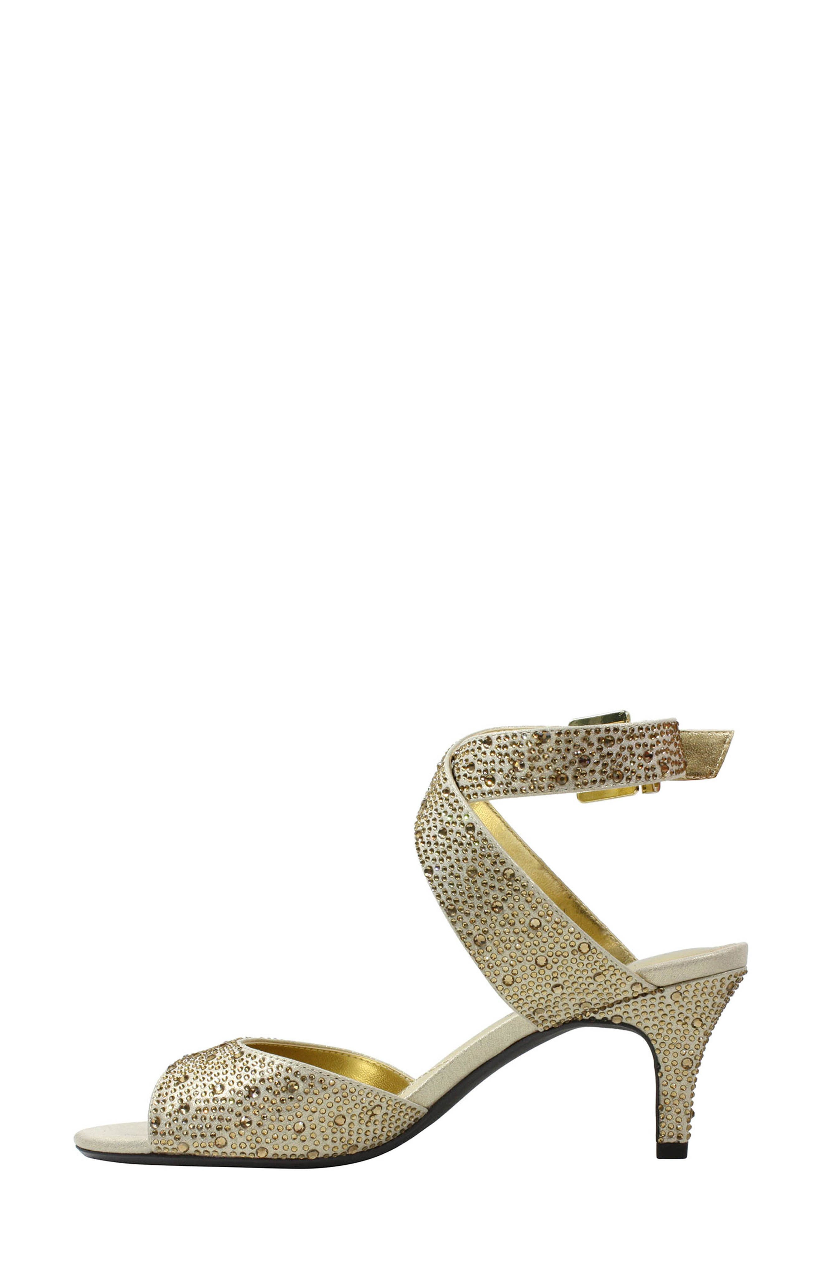 'Soncino' Ankle Strap Sandal,                             Alternate thumbnail 3, color,                             Gold Fabric