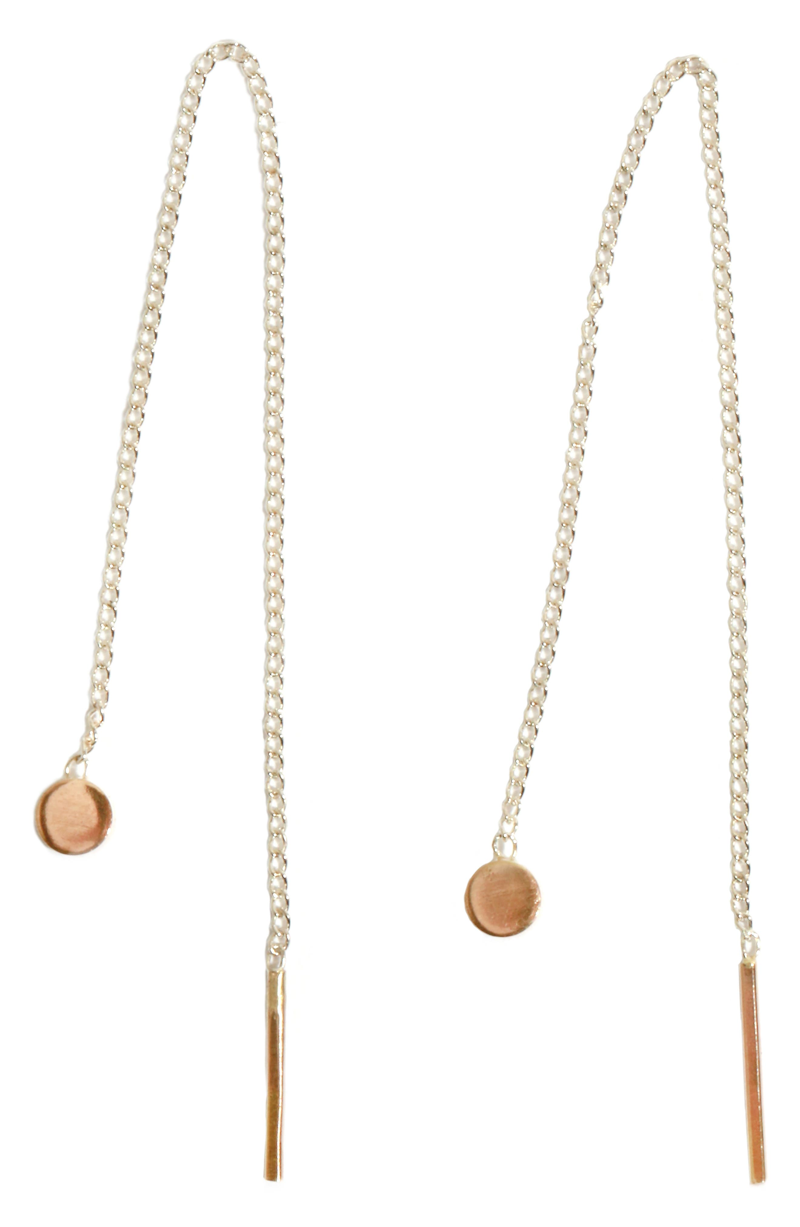 Chain Threader Earrings,                         Main,                         color, Yellow Gold