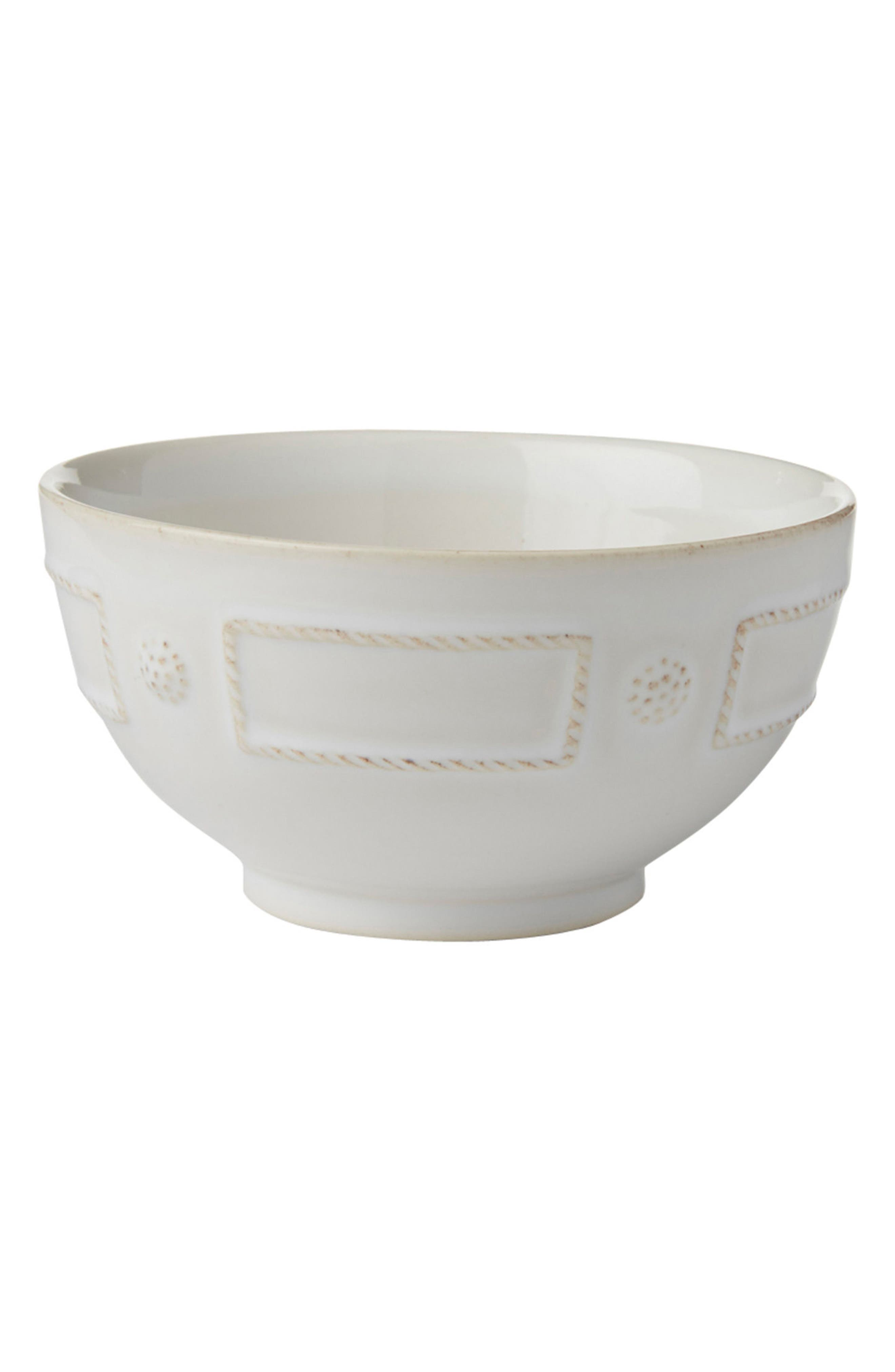 Berry & Thread French Panel Ceramic Cereal Bowl,                             Main thumbnail 1, color,                             Whitewash