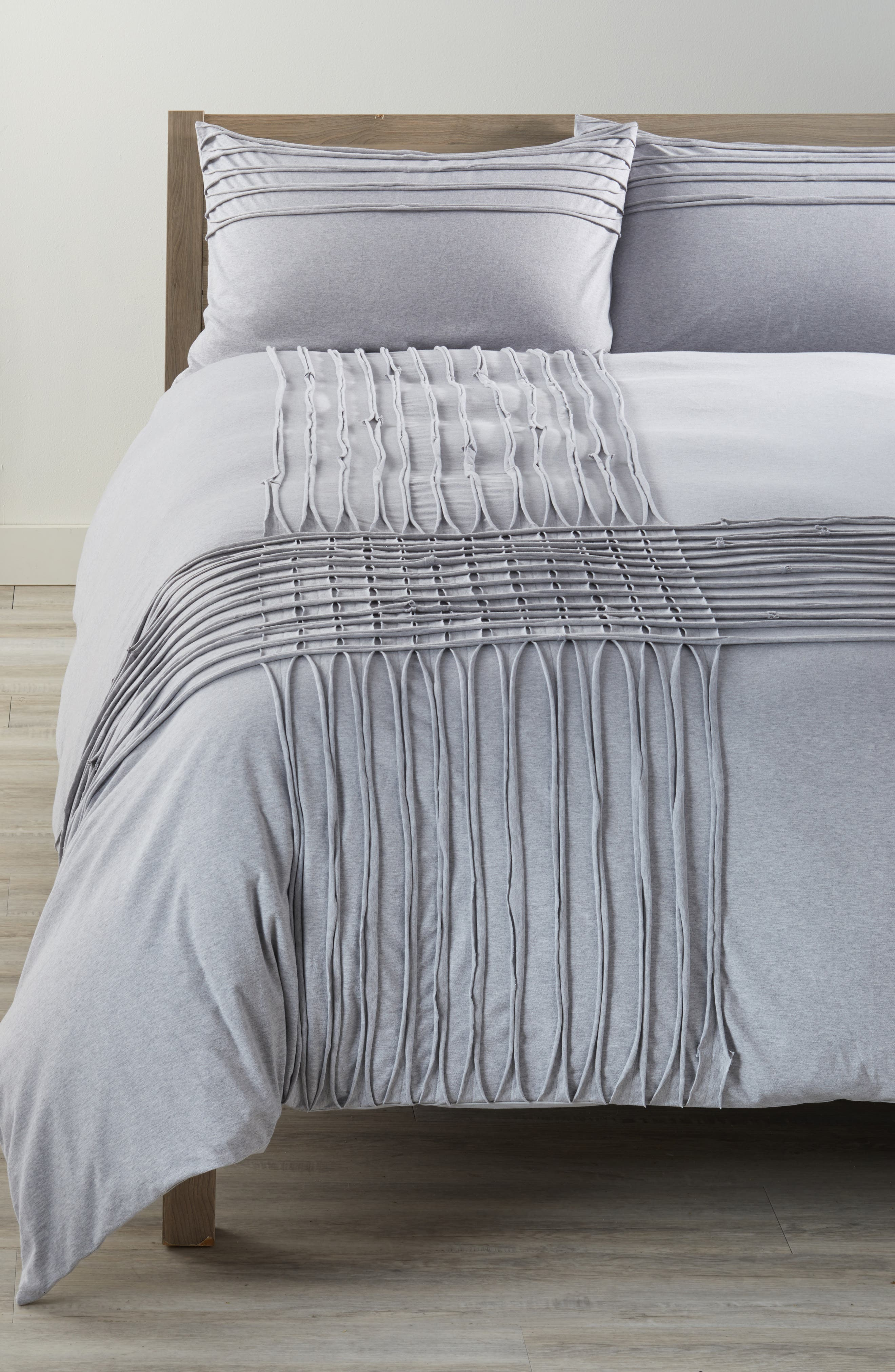 Jersey Grid Duvet Cover,                         Main,                         color, Grey Heather