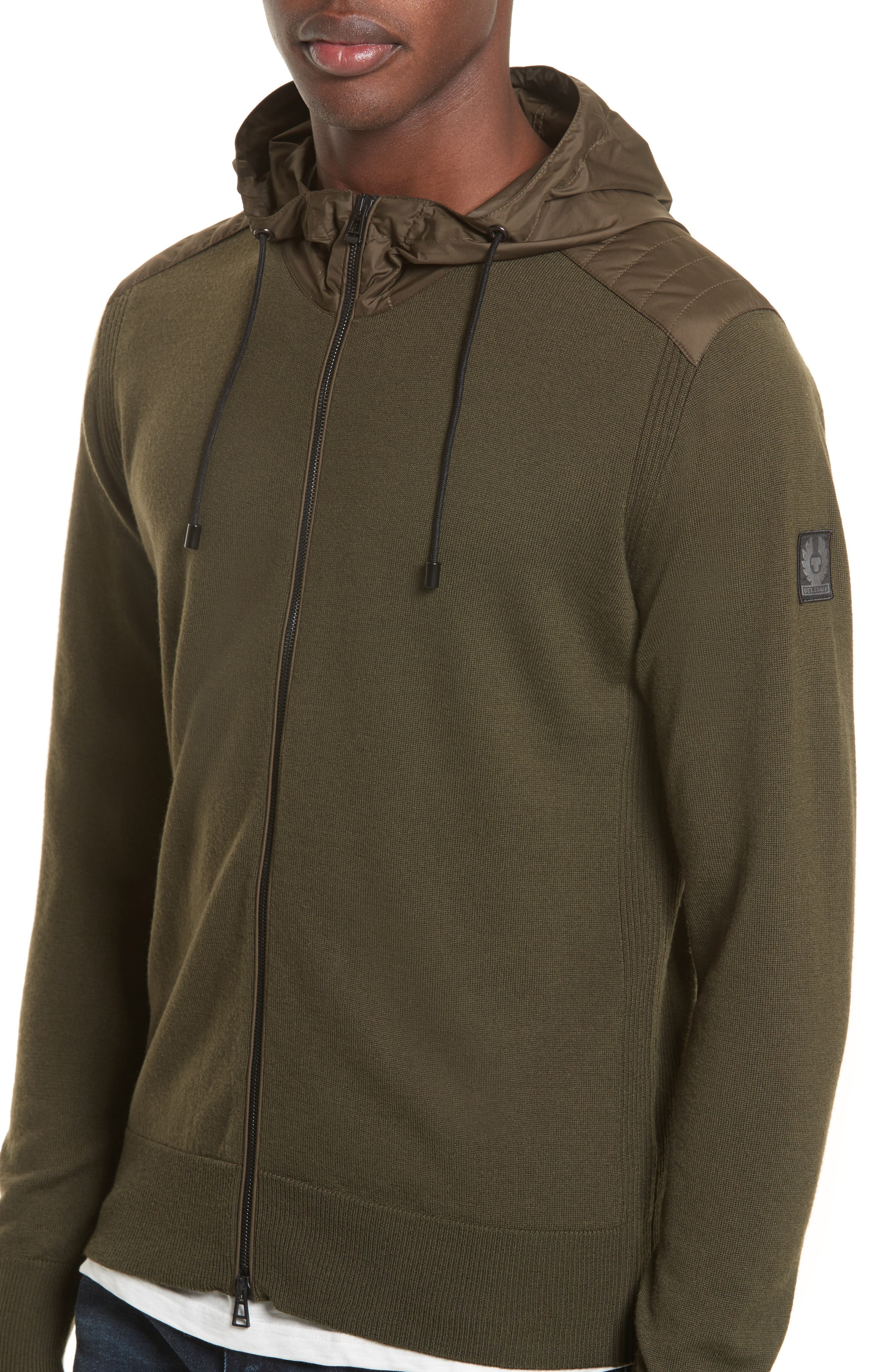 Aldington Mixed Media Full Zip Hoodie,                             Alternate thumbnail 4, color,                             Pale Military Green