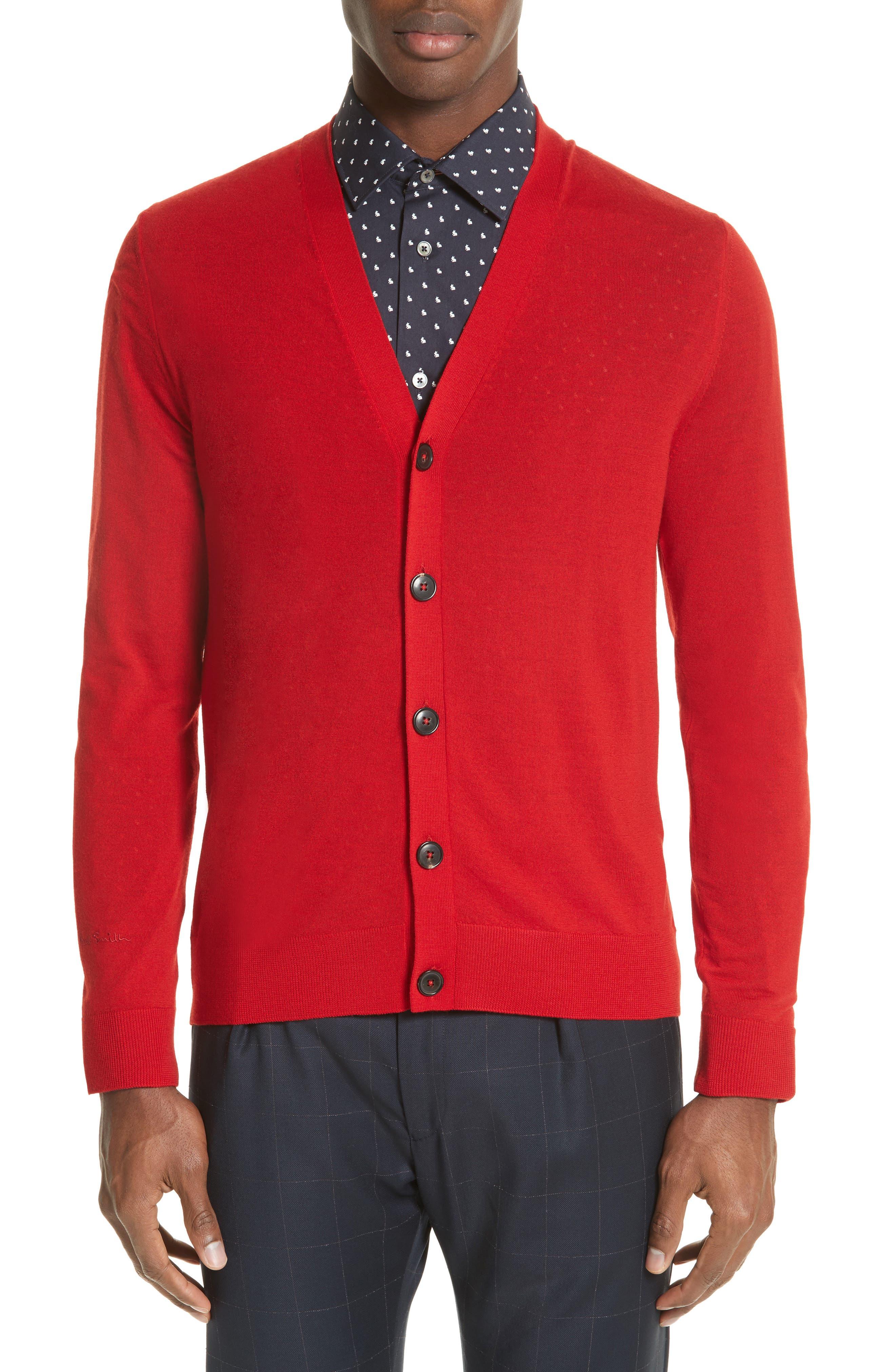 Merino Wool Cardigan,                             Main thumbnail 1, color,                             Red