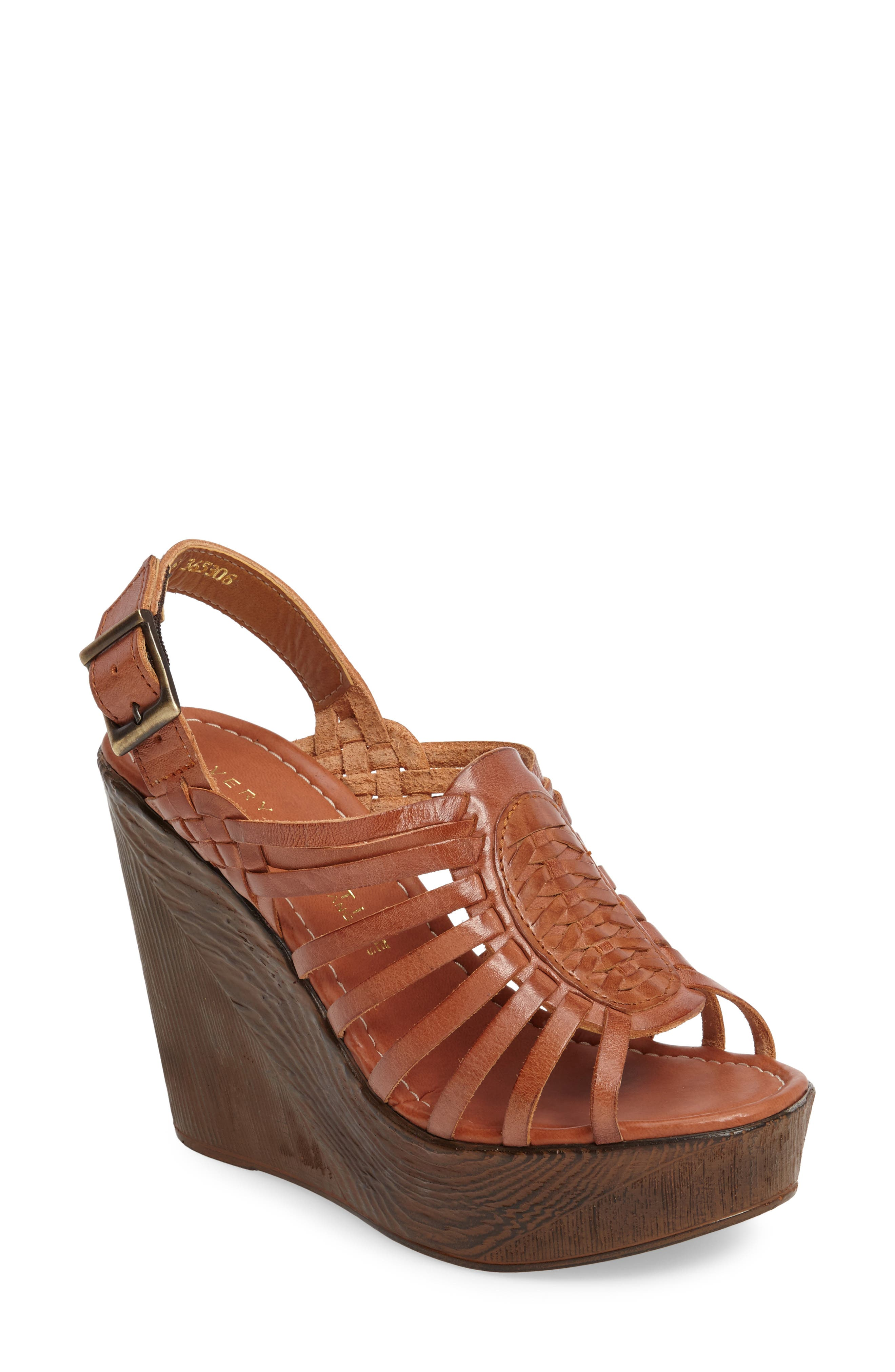 Prolific Wedge Sandal,                             Main thumbnail 1, color,                             Tan Leather