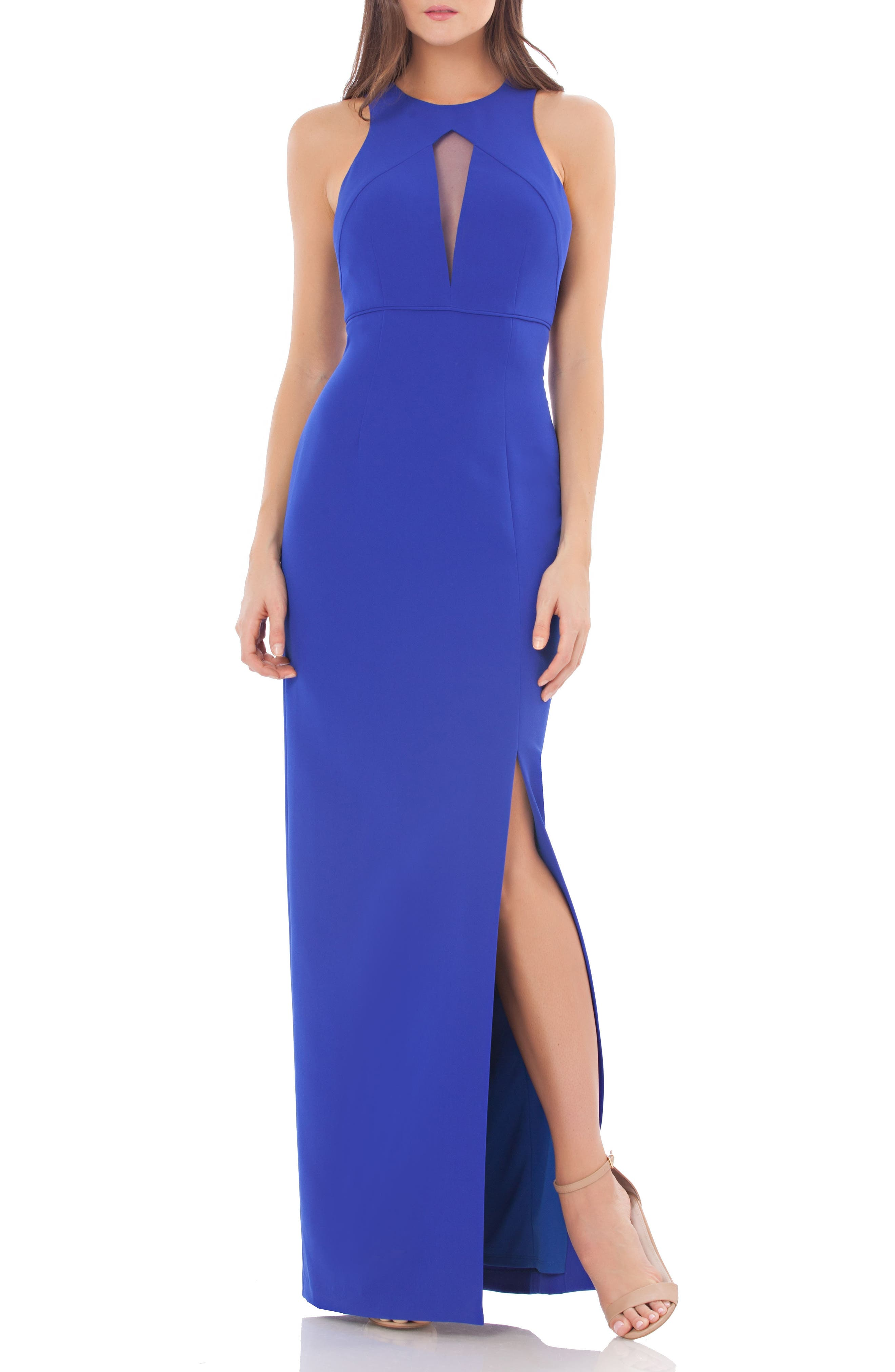Alternate Image 1 Selected - JS Collections Cutout Empire Waist Column Gown