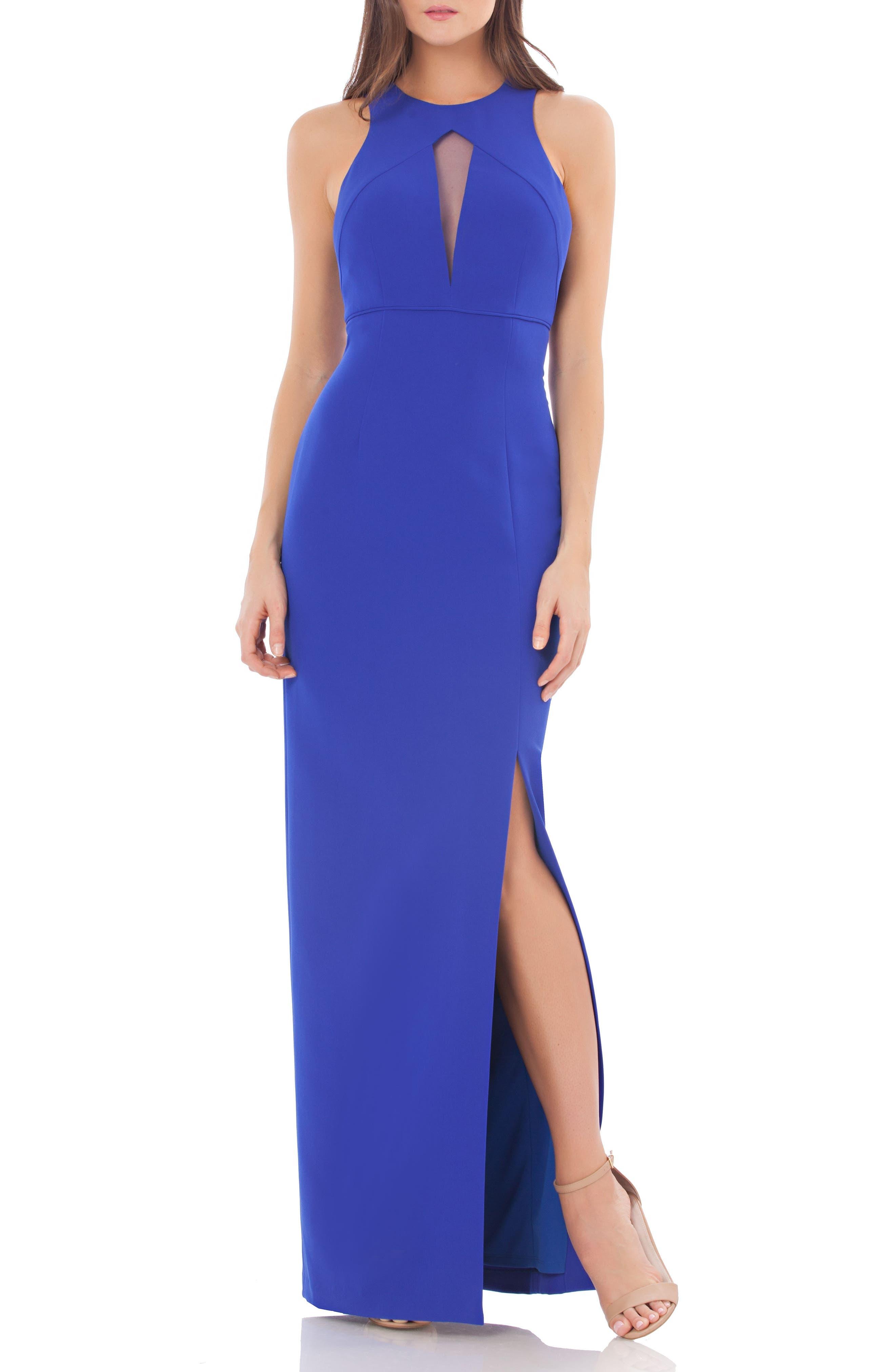 Cutout Empire Waist Column Gown,                         Main,                         color, Electric Blue