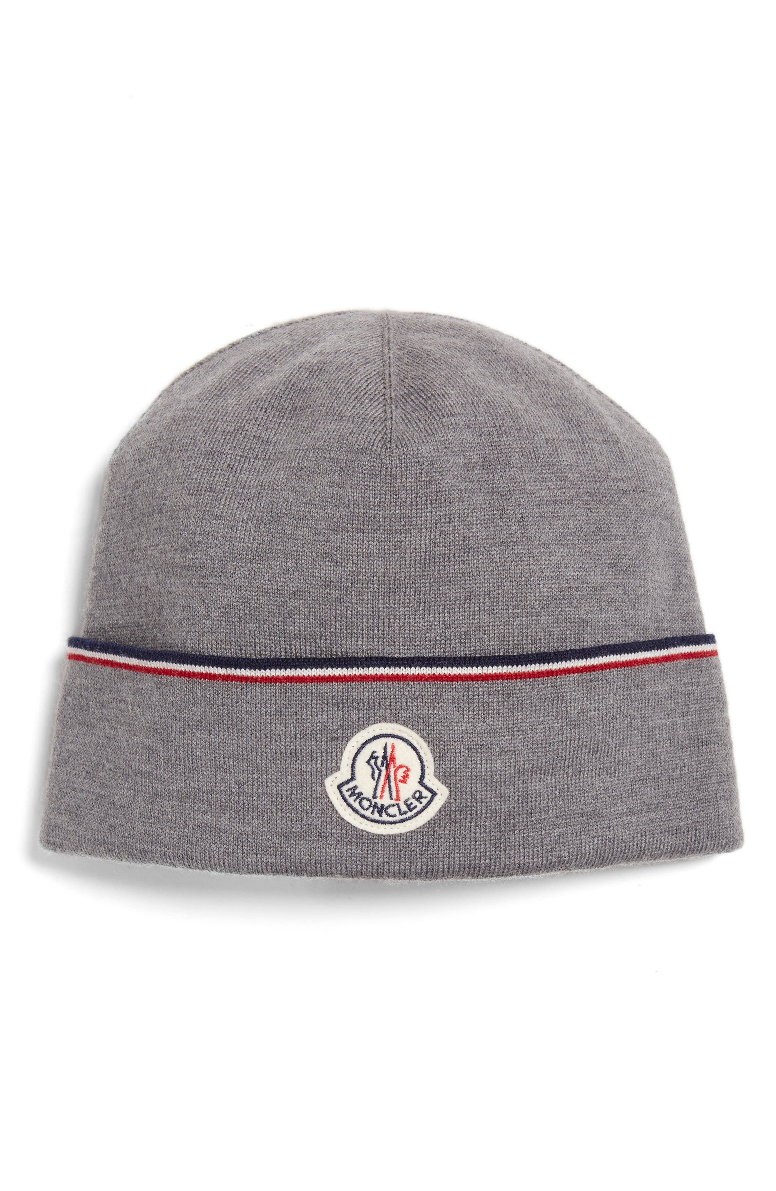 Moncler Logo Patch Wool Beanie