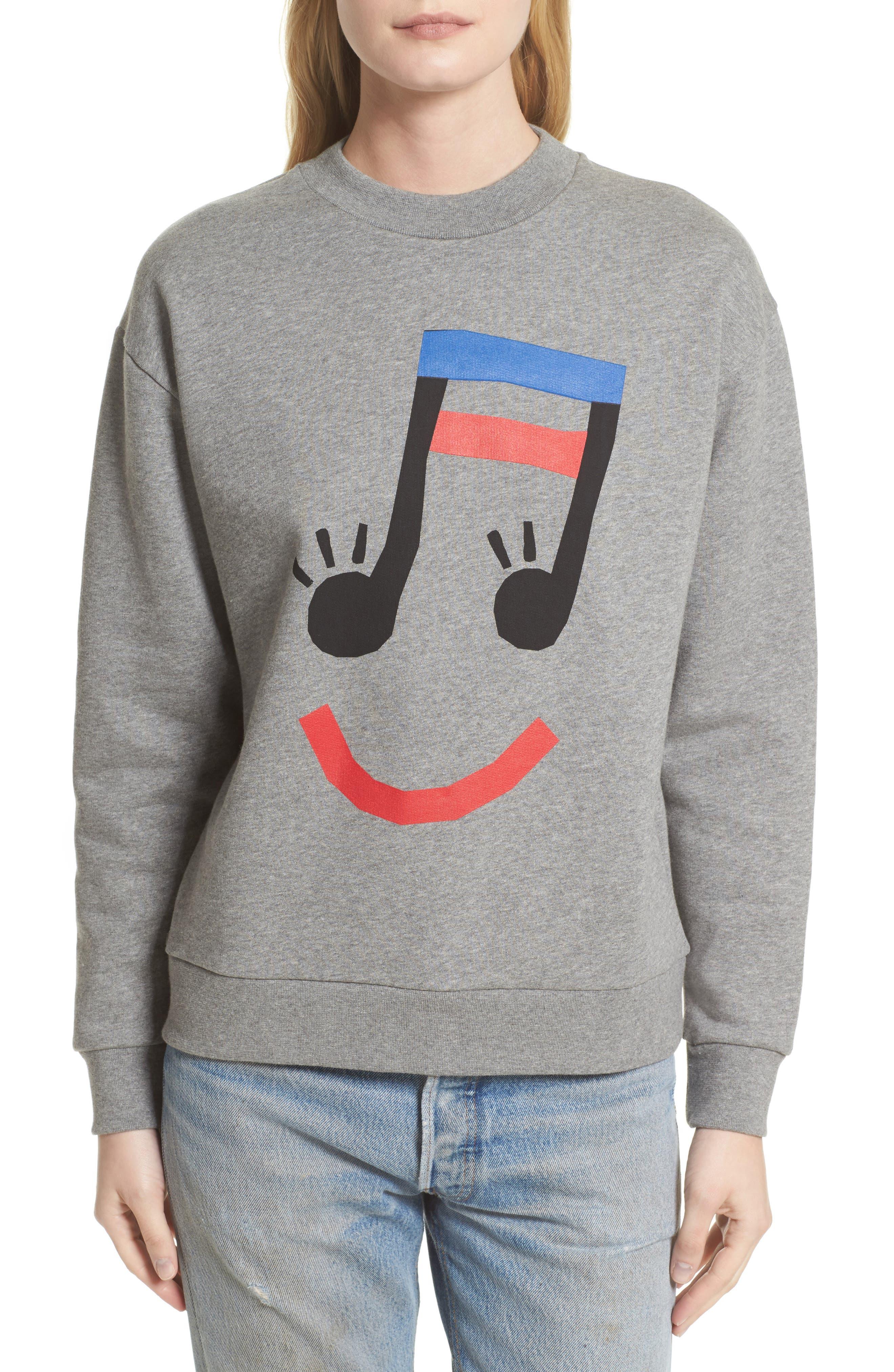 être cécile Music Face Boyfriend Sweatshirt,                         Main,                         color, Medium Grey Marled