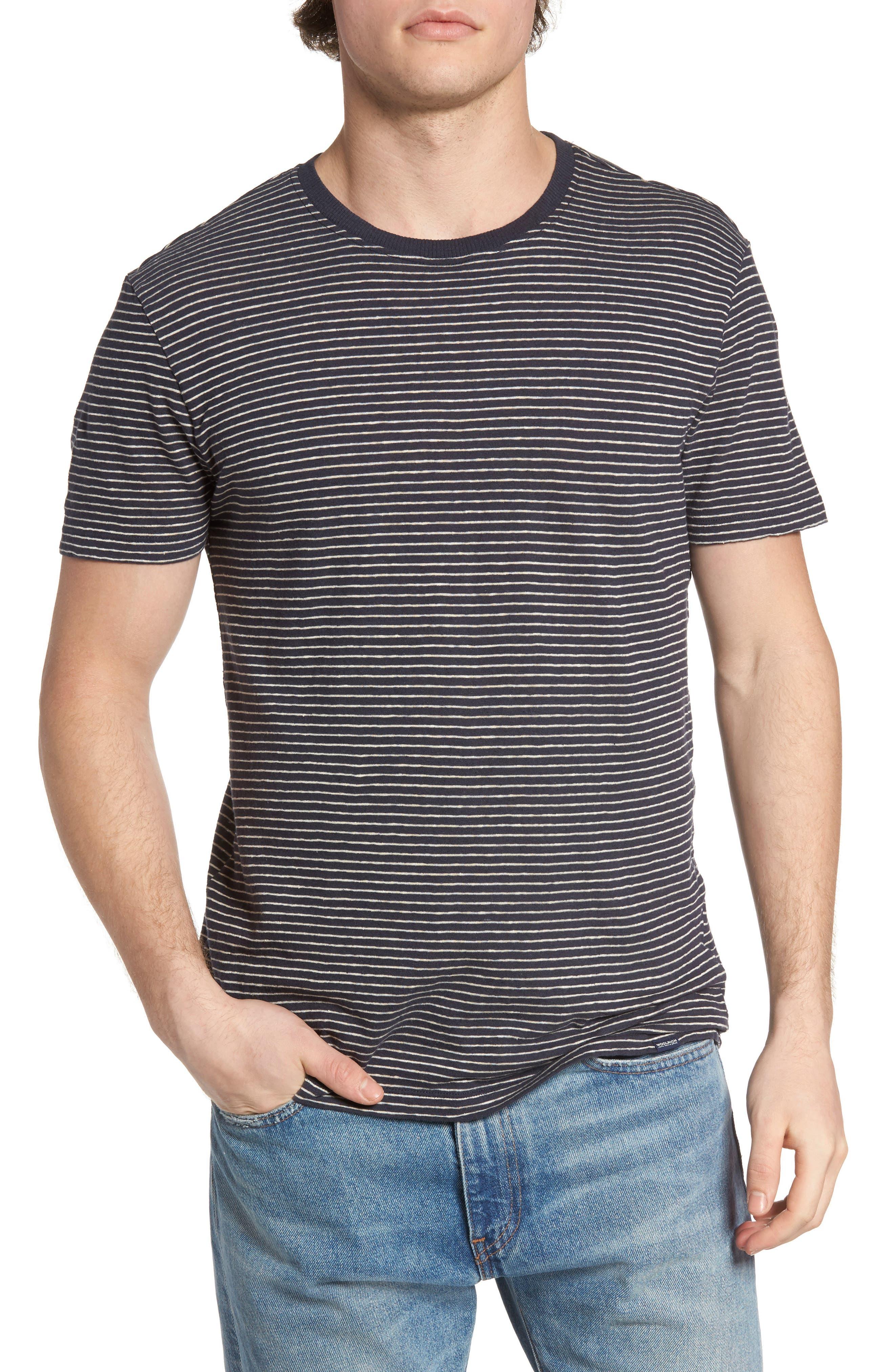 John Rich Stripe Cotton & Linen T-Shirt,                             Main thumbnail 1, color,                             Dark Navy Stripe B