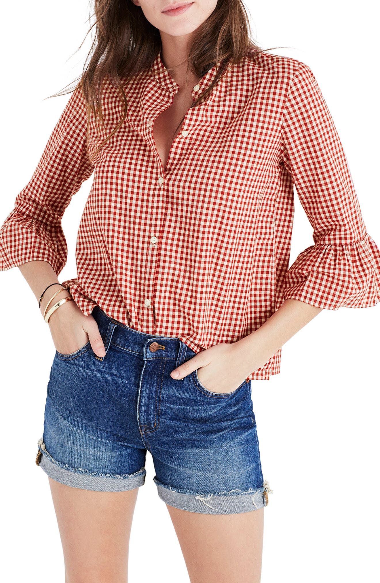 Main Image - Madewell Gingham Bell Sleeve Shirt