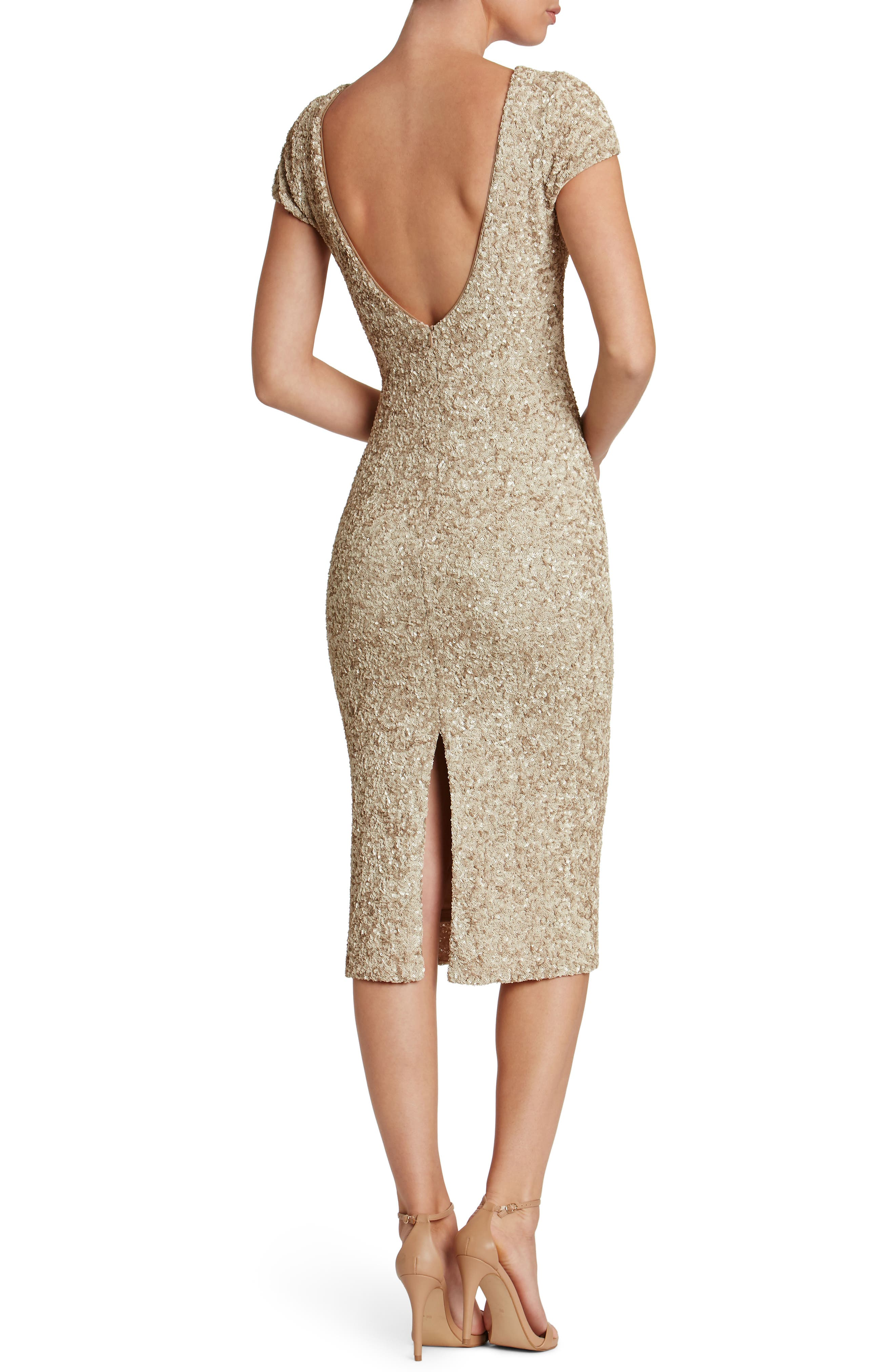 Marcella Sequin Midi Dress,                             Alternate thumbnail 2, color,                             Taupe