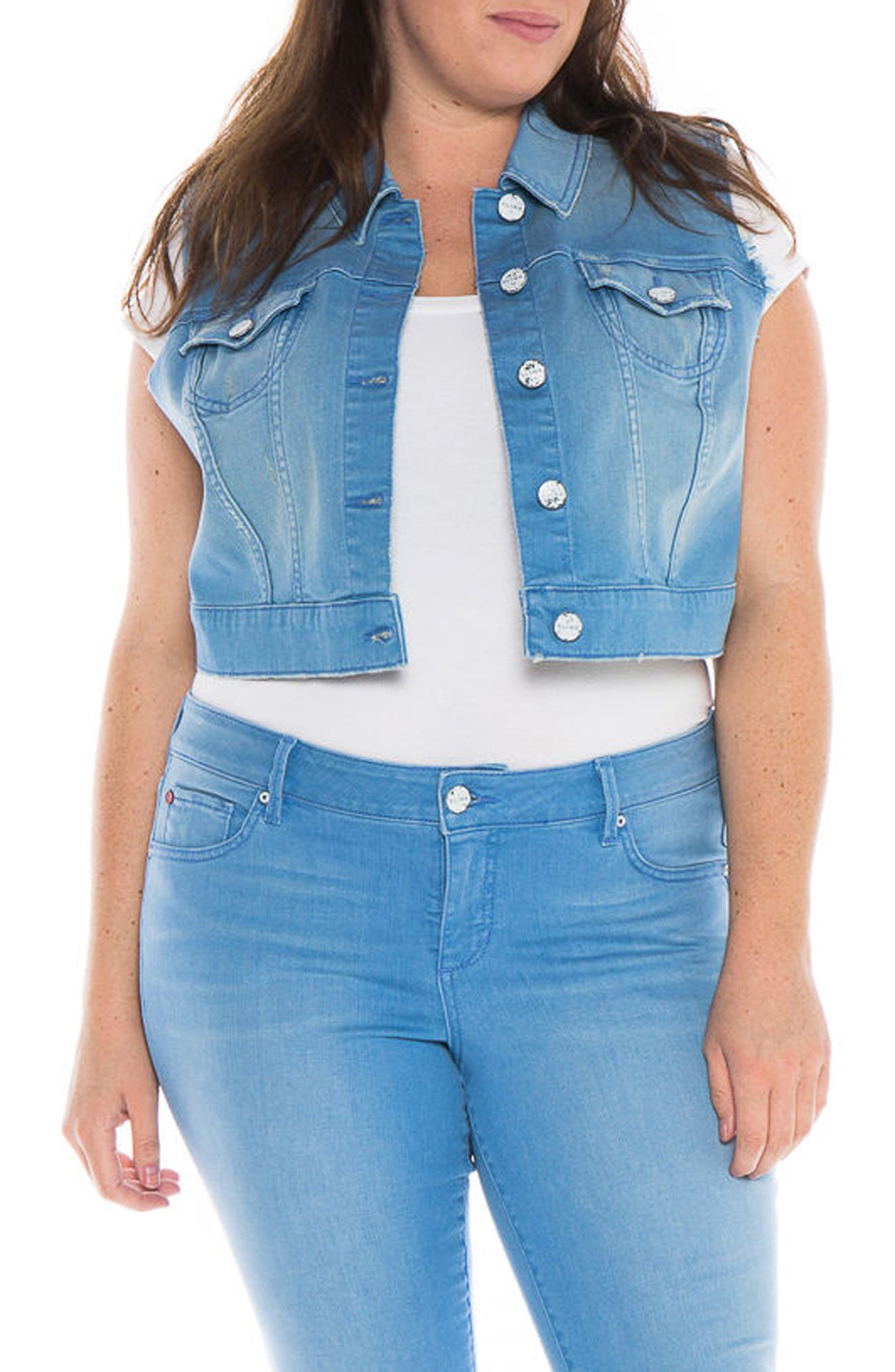 SLINK Jeans Crop Denim Vest (Plus Size)